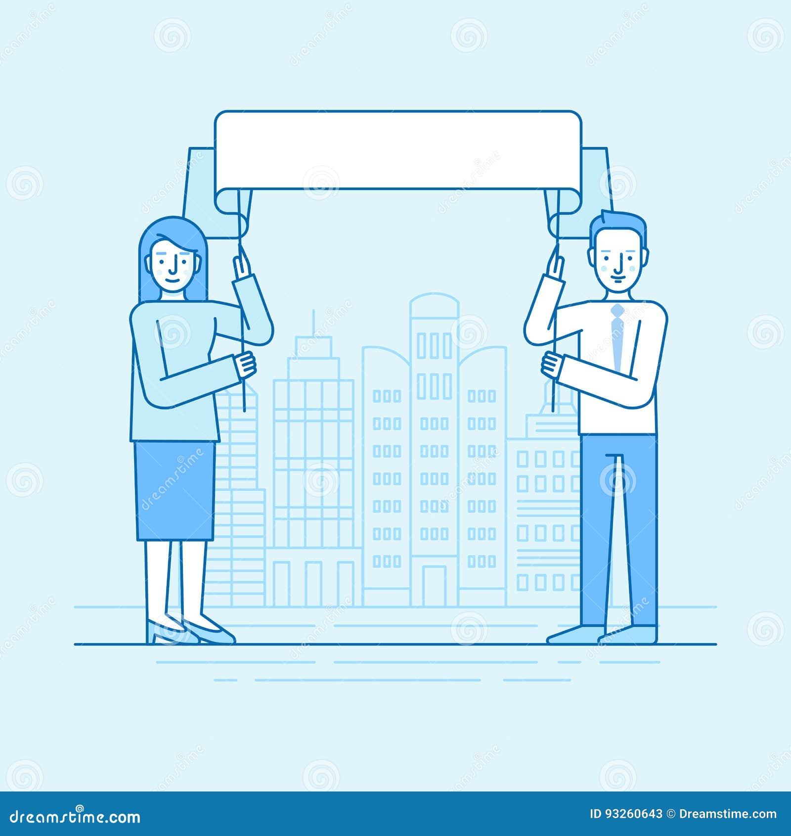 Vector el ejemplo linear plano en colores azules - hombre y mujer
