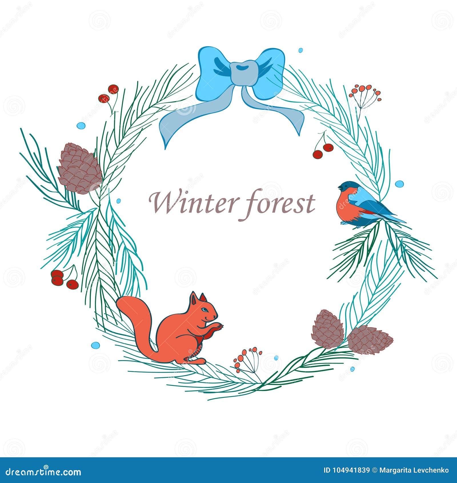 Vector el ejemplo, el marco de la Navidad con el bosque y los elementos celebradores Ramas del abeto, conos, piñonero, ardilla