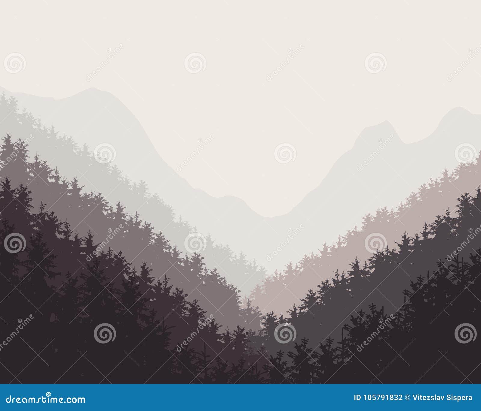 Vector el ejemplo retro de los fondos nebulosos de un bosque del invierno