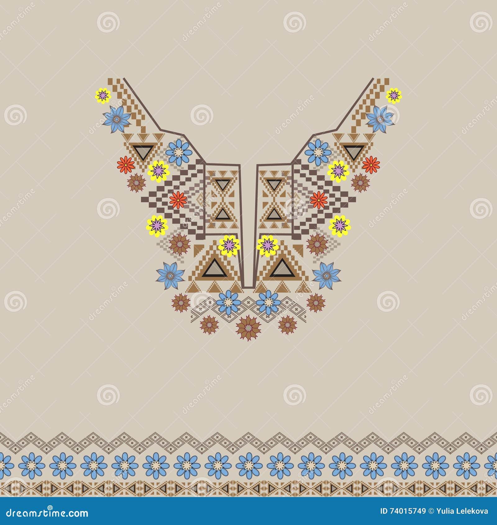 Vector el escote y la frontera con el ornamento étnico y floral Estilo bohemio moderno