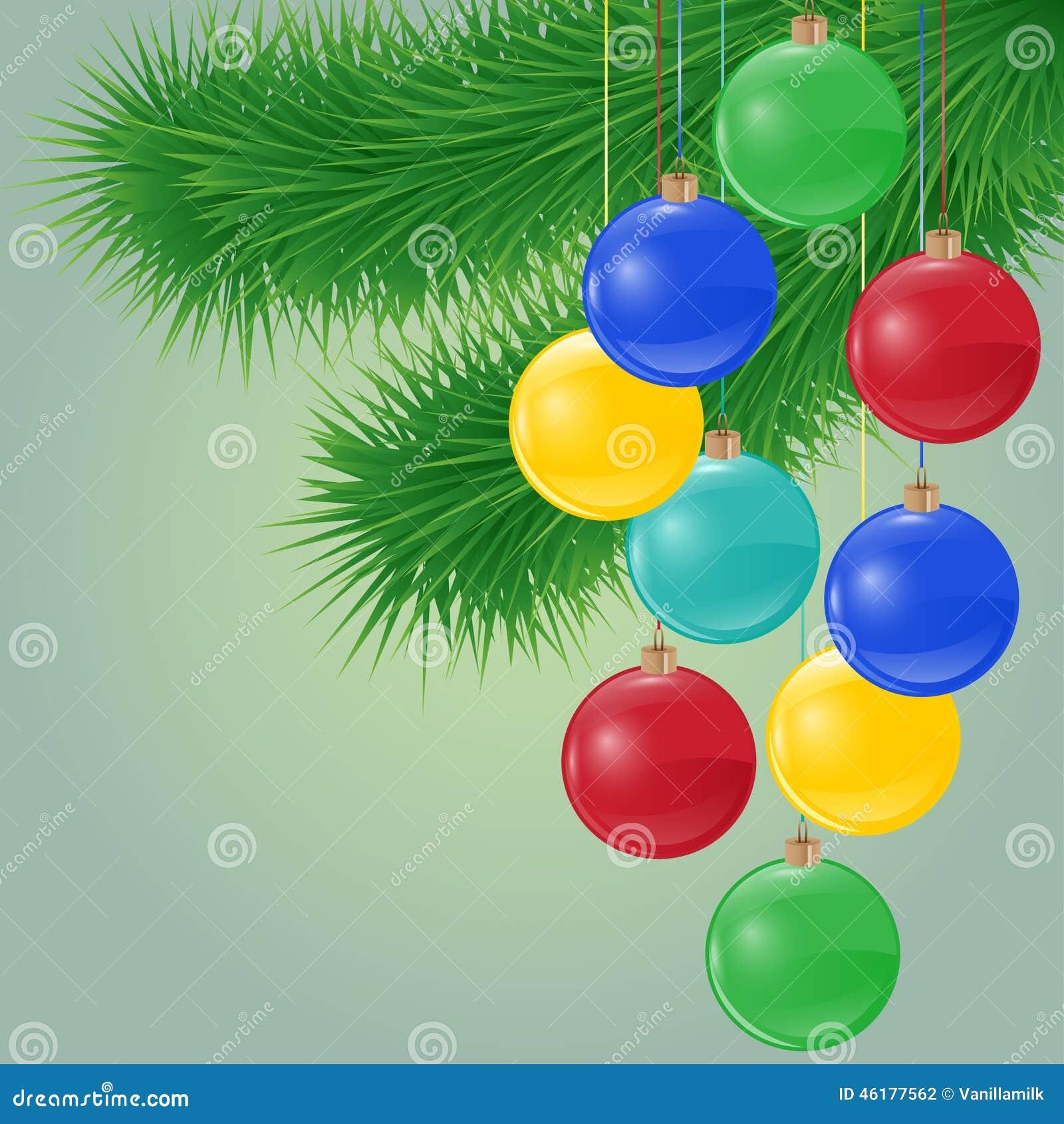 Vector el fondo con la rama spruce y las bolas brillantes de la Navidad
