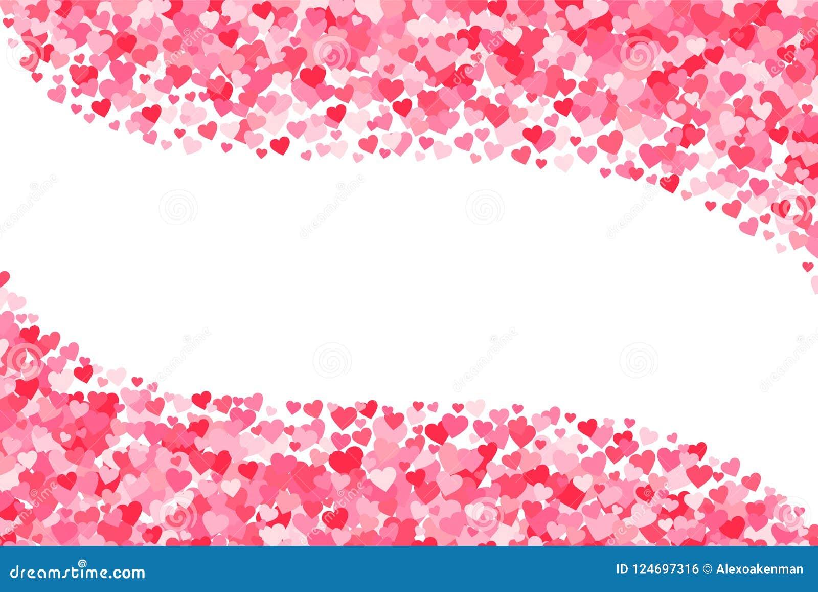 Vector el fondo rosado y rojo de los corazones de los días de tarjetas del día de San Valentín