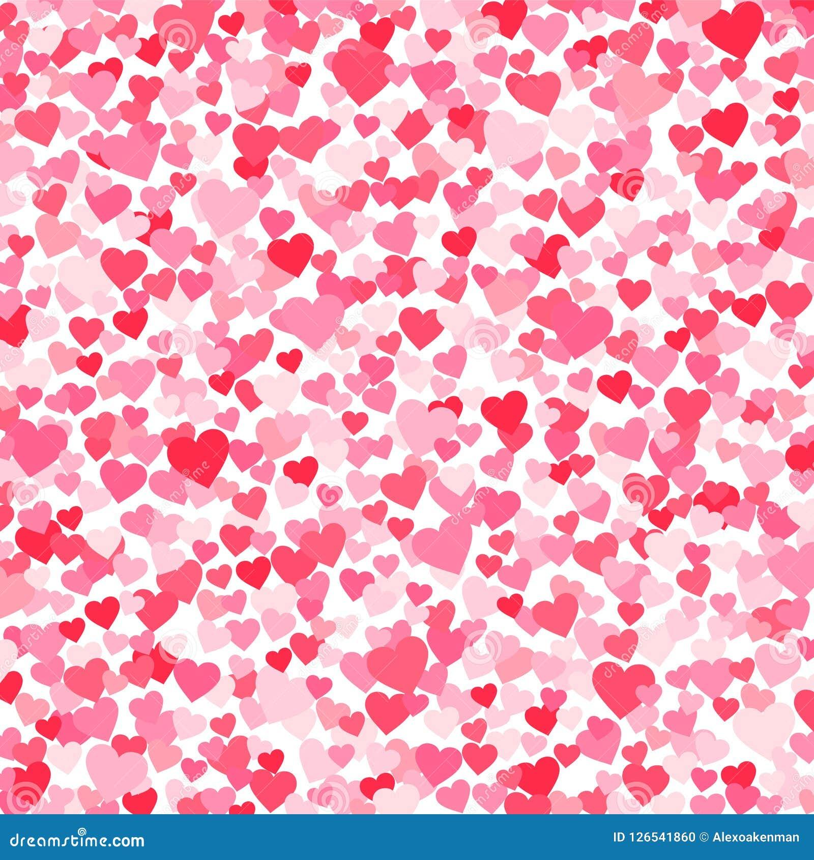 Vector el fondo rosado y rojo de los heartshapes de los días de tarjetas del día de San Valentín