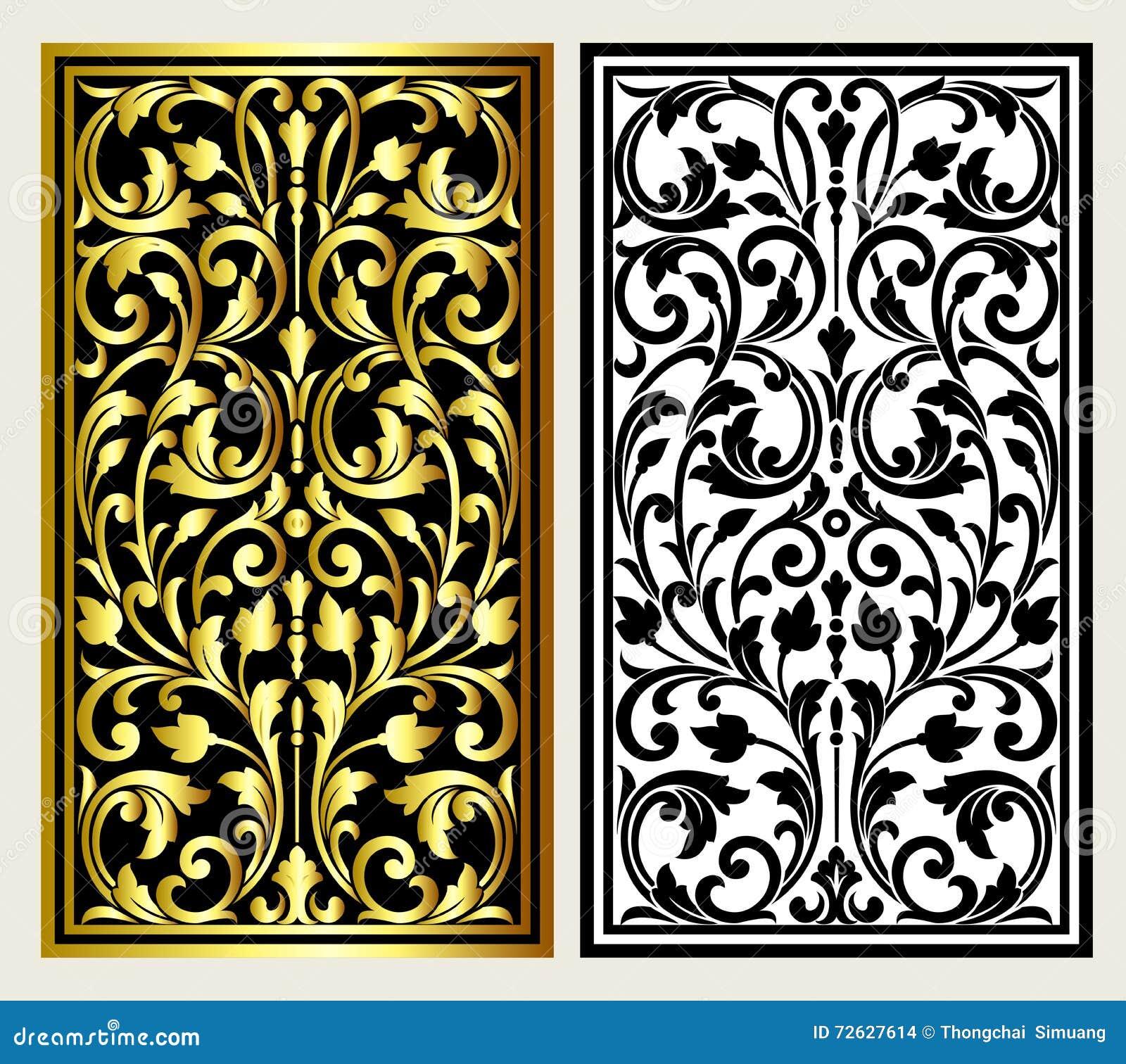 Vector el grabado del logotipo del marco de la frontera del vintage con el modelo retro del ornamento en diseño decorativo del es