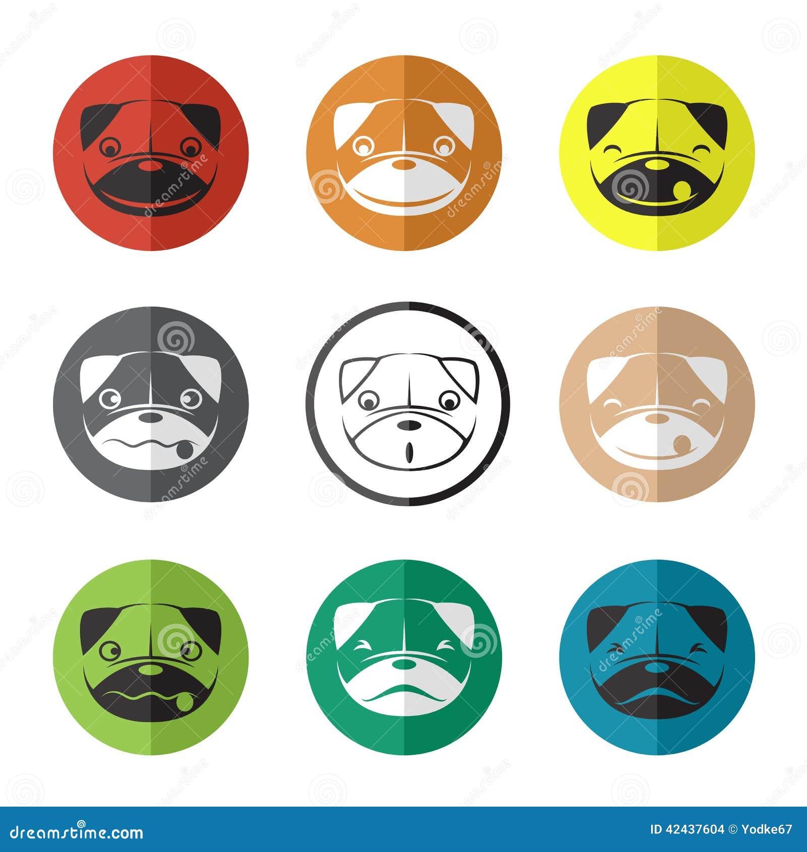 Vector el grupo de cara del perro en el círculo