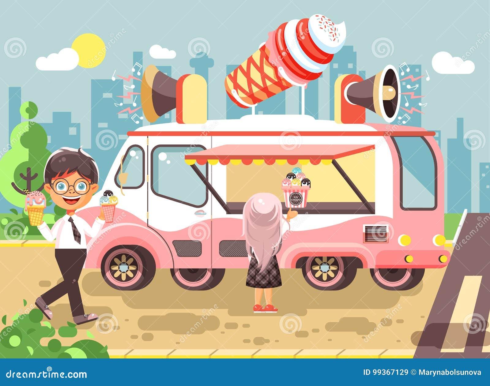 450f6299d77 Los niños, los alumnos, los colegiales y las colegialas comunes de los  personajes de dibujos animados del ejemplo del vector compran helado,  vainilla, ...