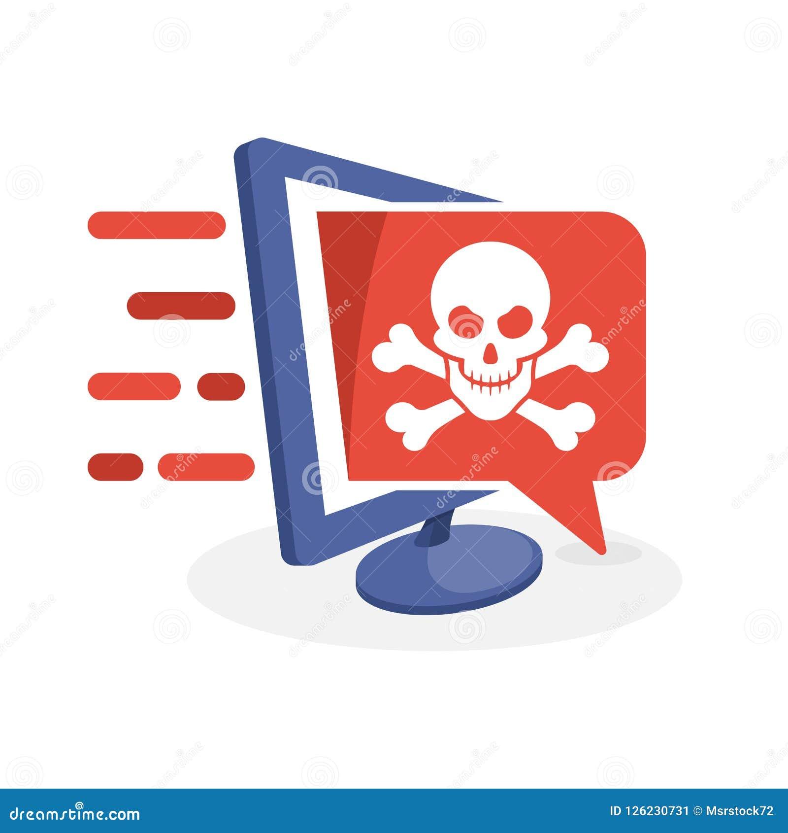Vector el icono con medios concepto digital sobre la información contenta peligrosa, ordenador del ejemplo cortado por los pirata