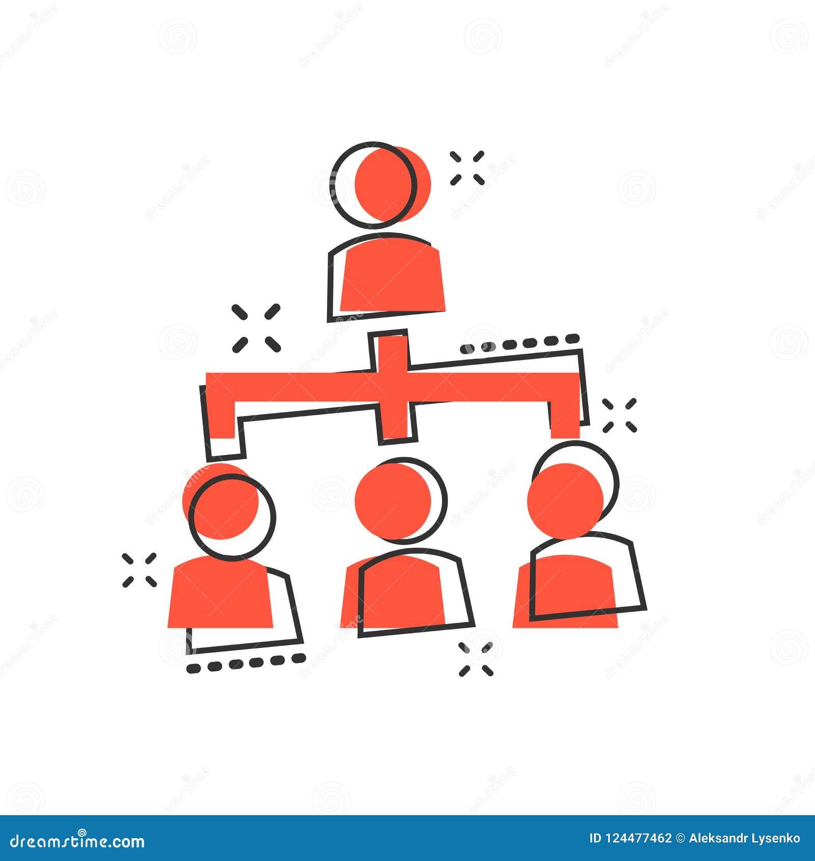 Vector el icono de la carta de organización corporativa de la gente de la historieta en cómico