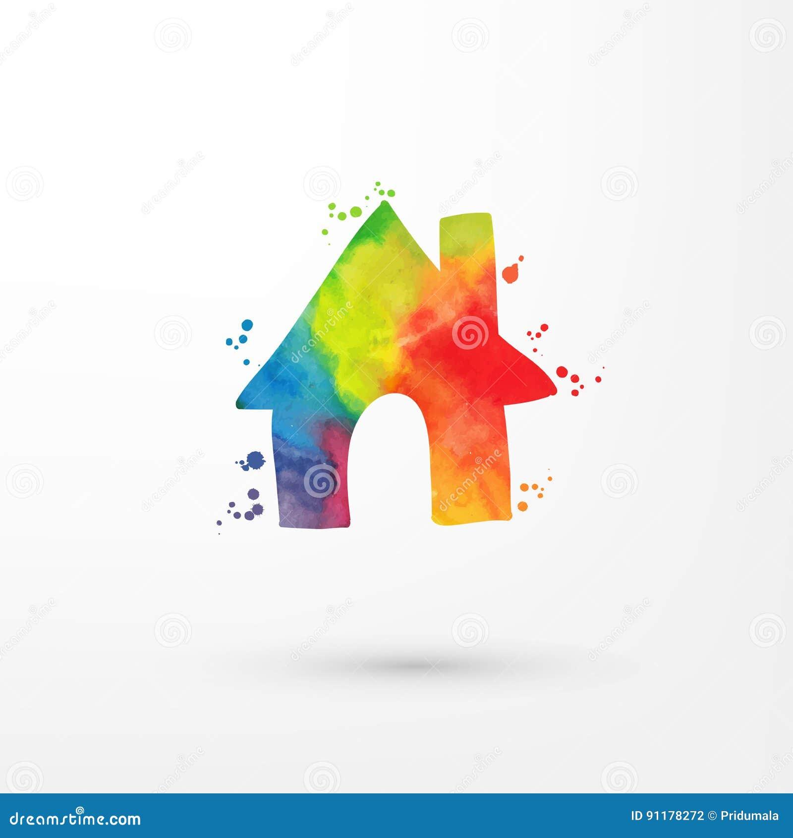 Vector el icono sucio del hogar de la acuarela del arco iris dentro del círculo con las manchas y las manchas blancas /negras, pi