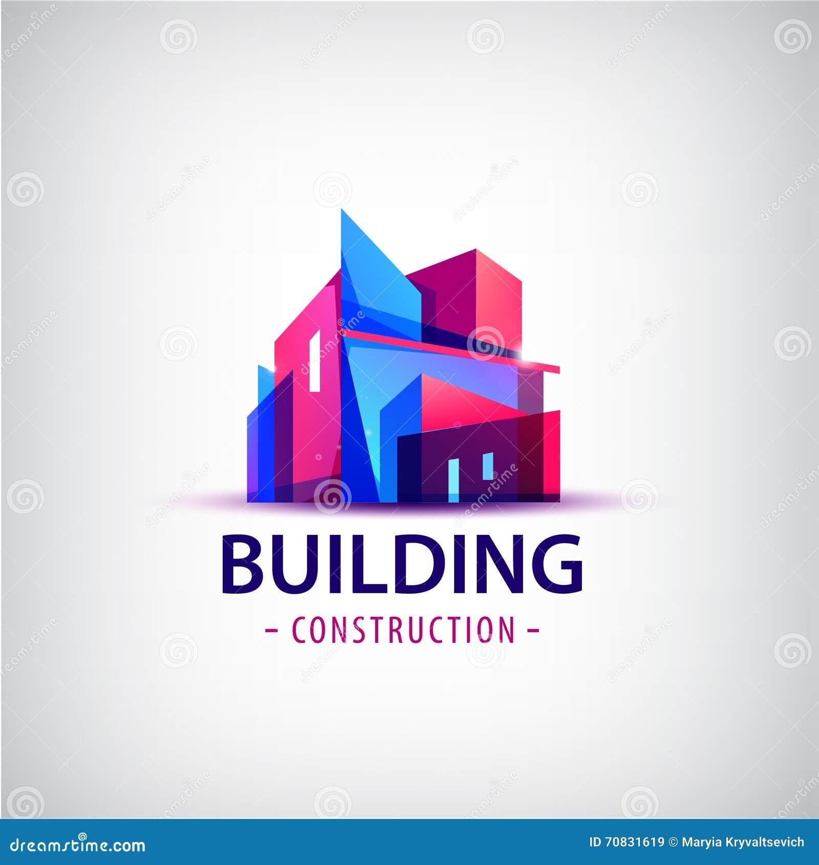 Vector el logotipo colorido del edificio abstracto, icono aislado