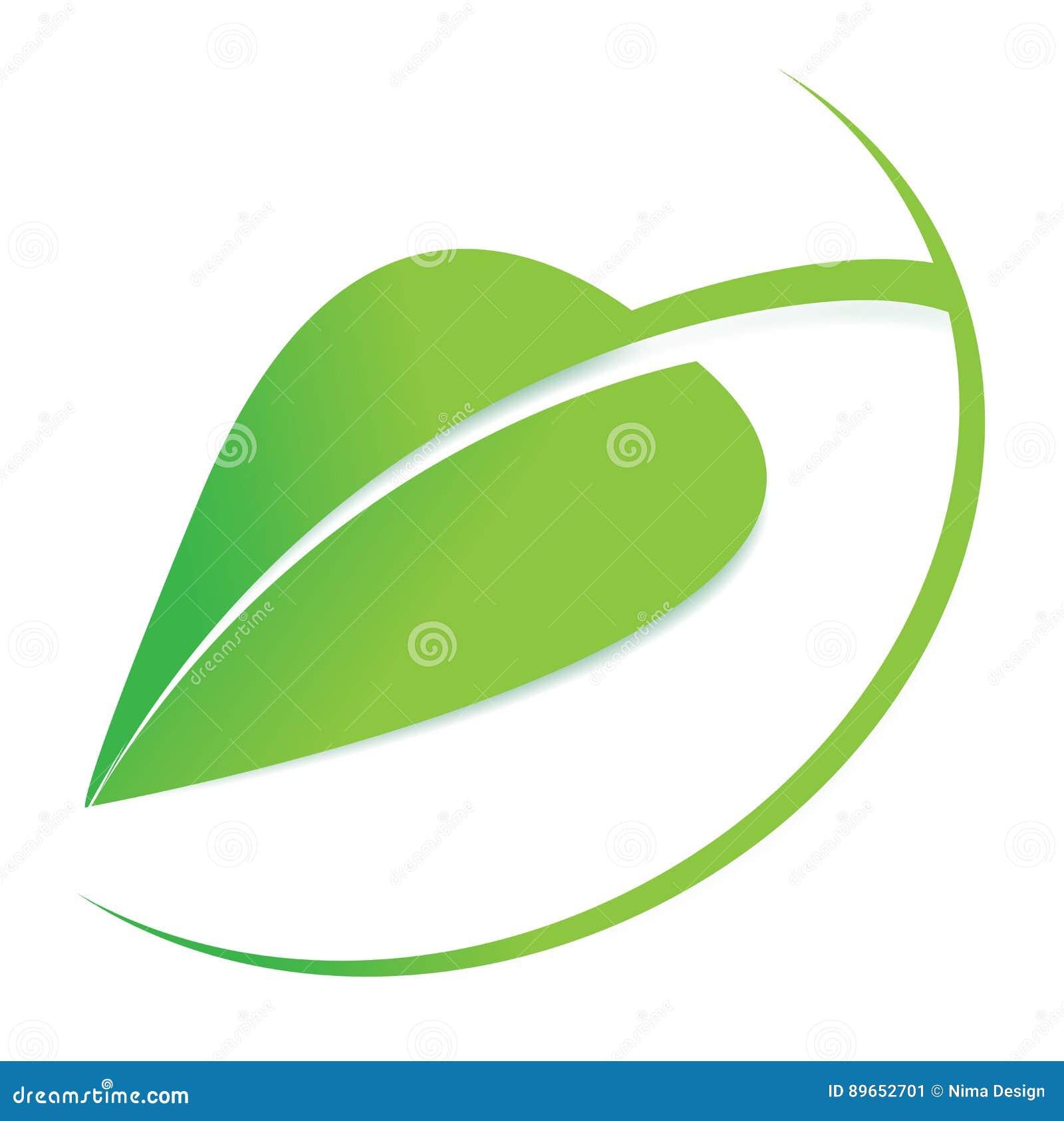 Vector el logotipo verde de la hoja, logotipo del negocio, símbolo orgánico, icono natural, diseño gráfico editable