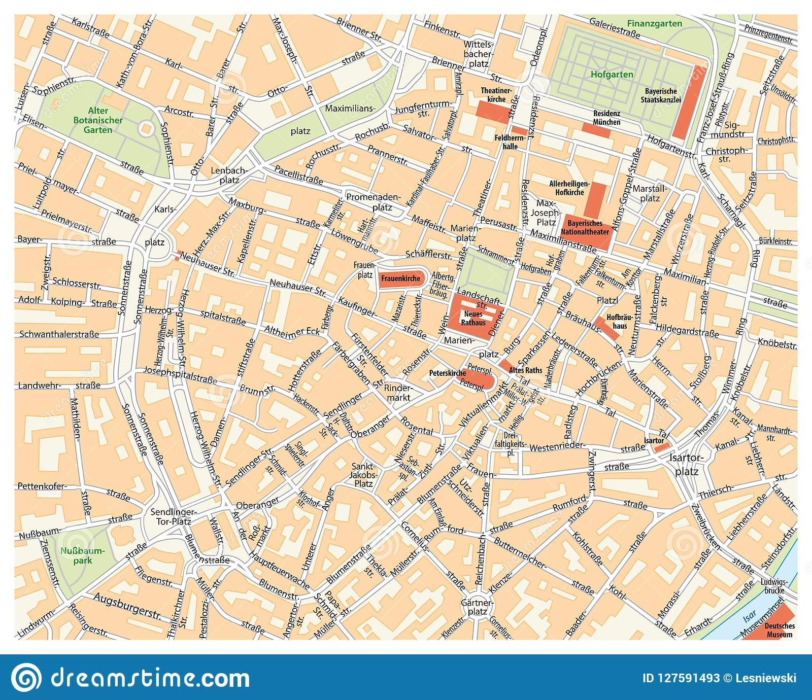 Vector El Mapa De Calle De La Ciudad De Munich Alemania Stock De