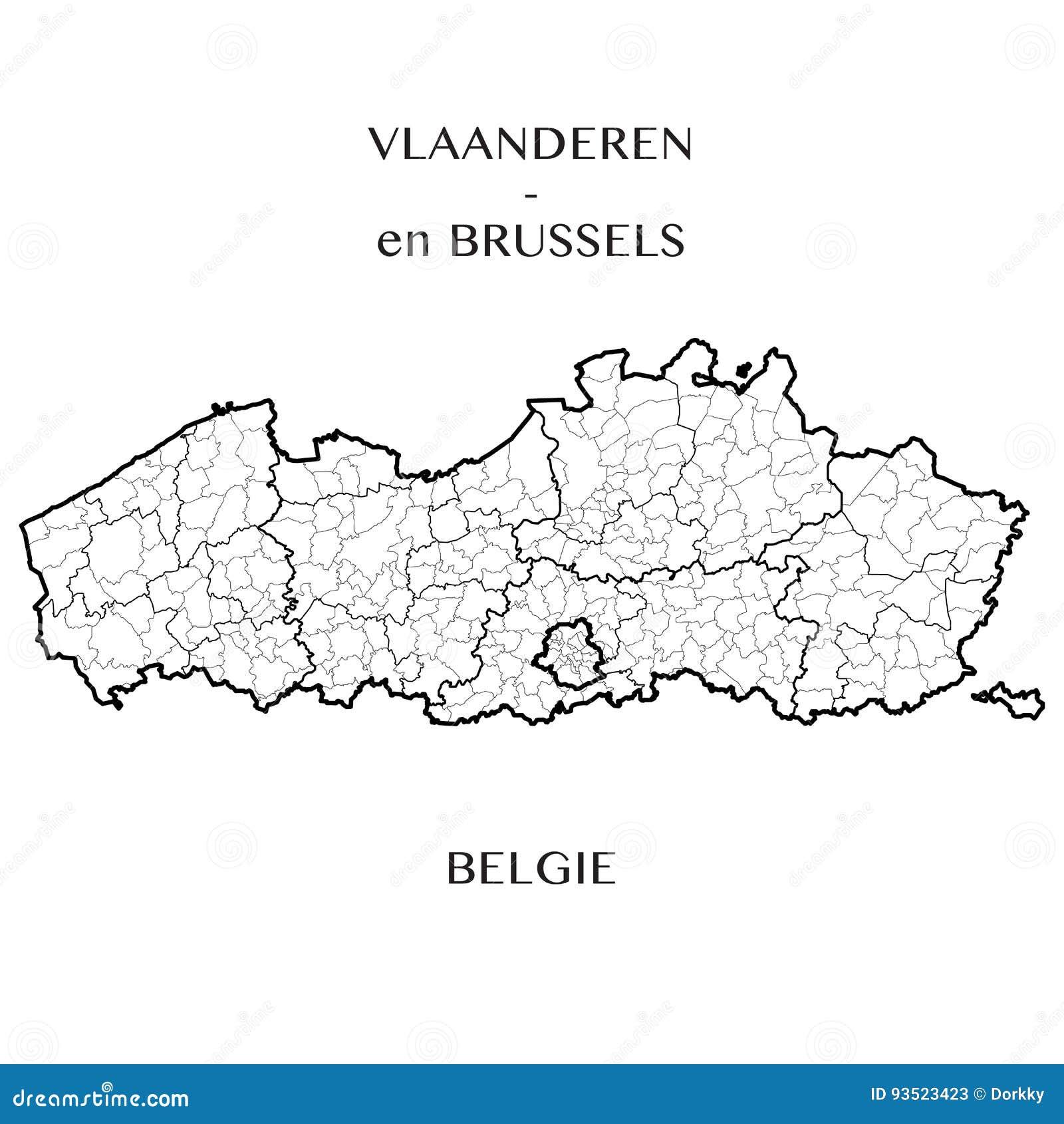 Vector El Mapa De Las Regiones De Flandes Y De Bruselas Ciudad