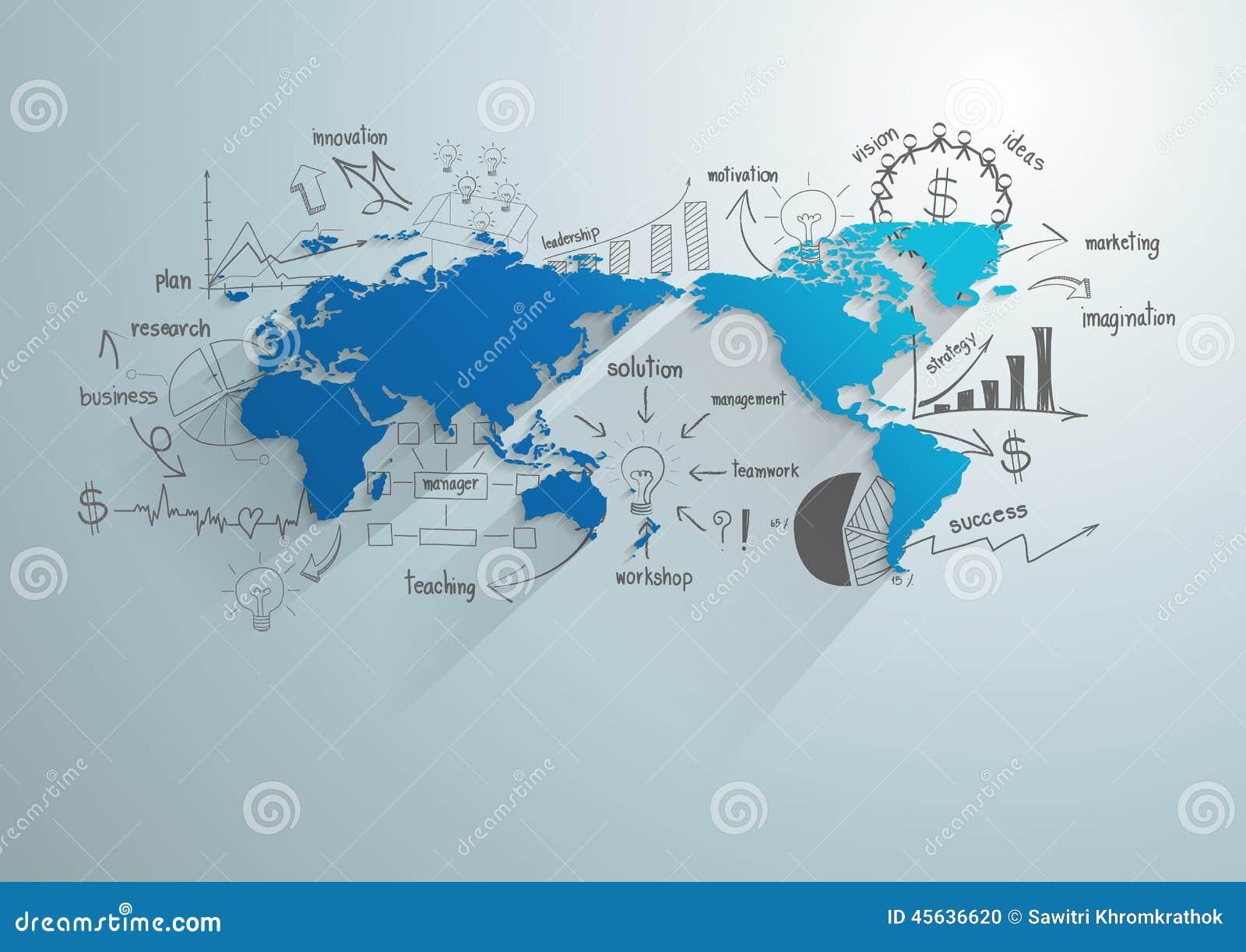 Vector el mapa del mundo con la carta y los gráficos creativos del dibujo