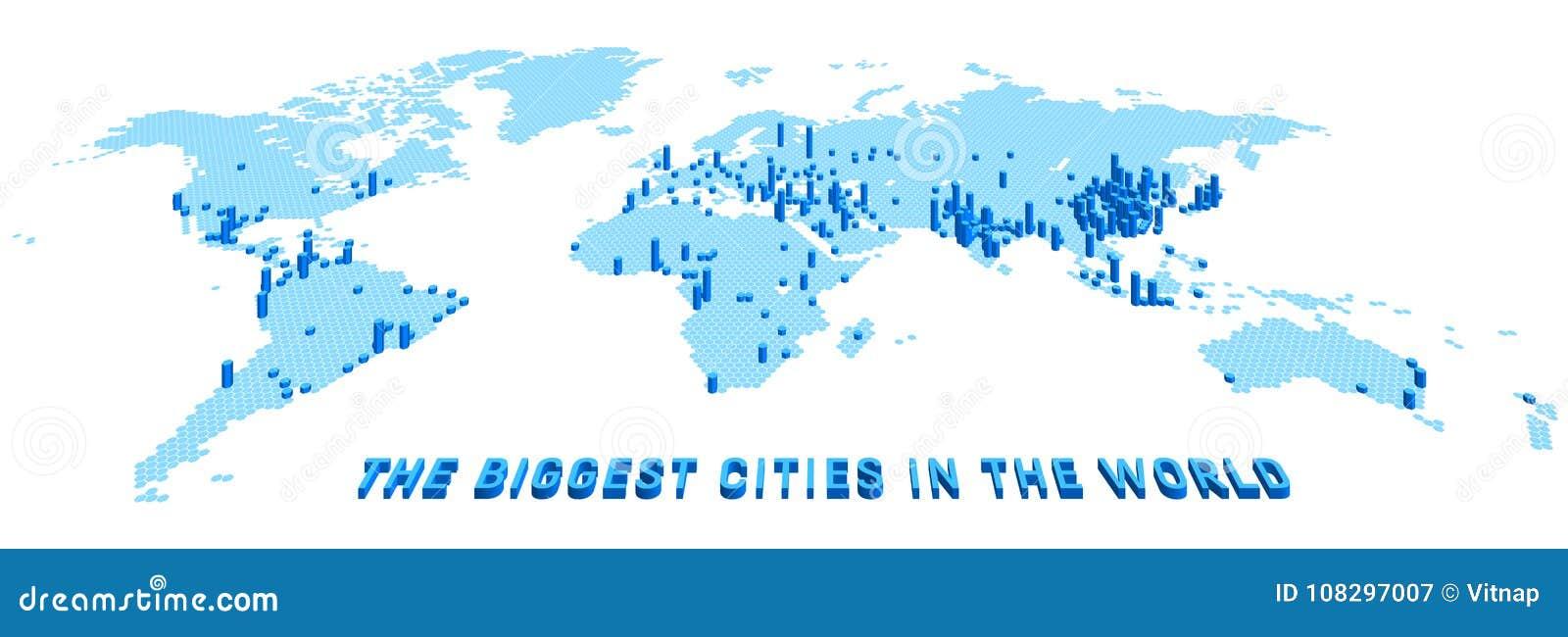 Vector el mapa del mundo estilizado usando hexágonos con las ciudades más grandes