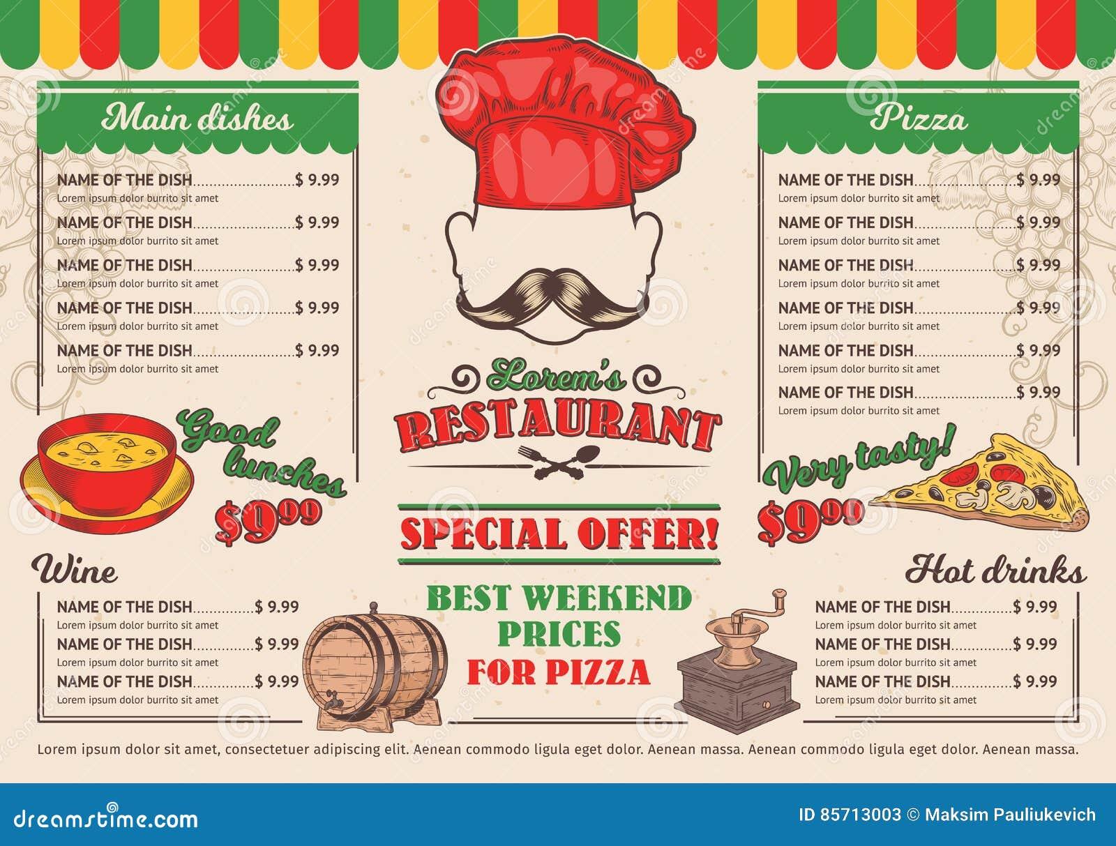 vector el menú italiano del restaurante de los ejemplos un café
