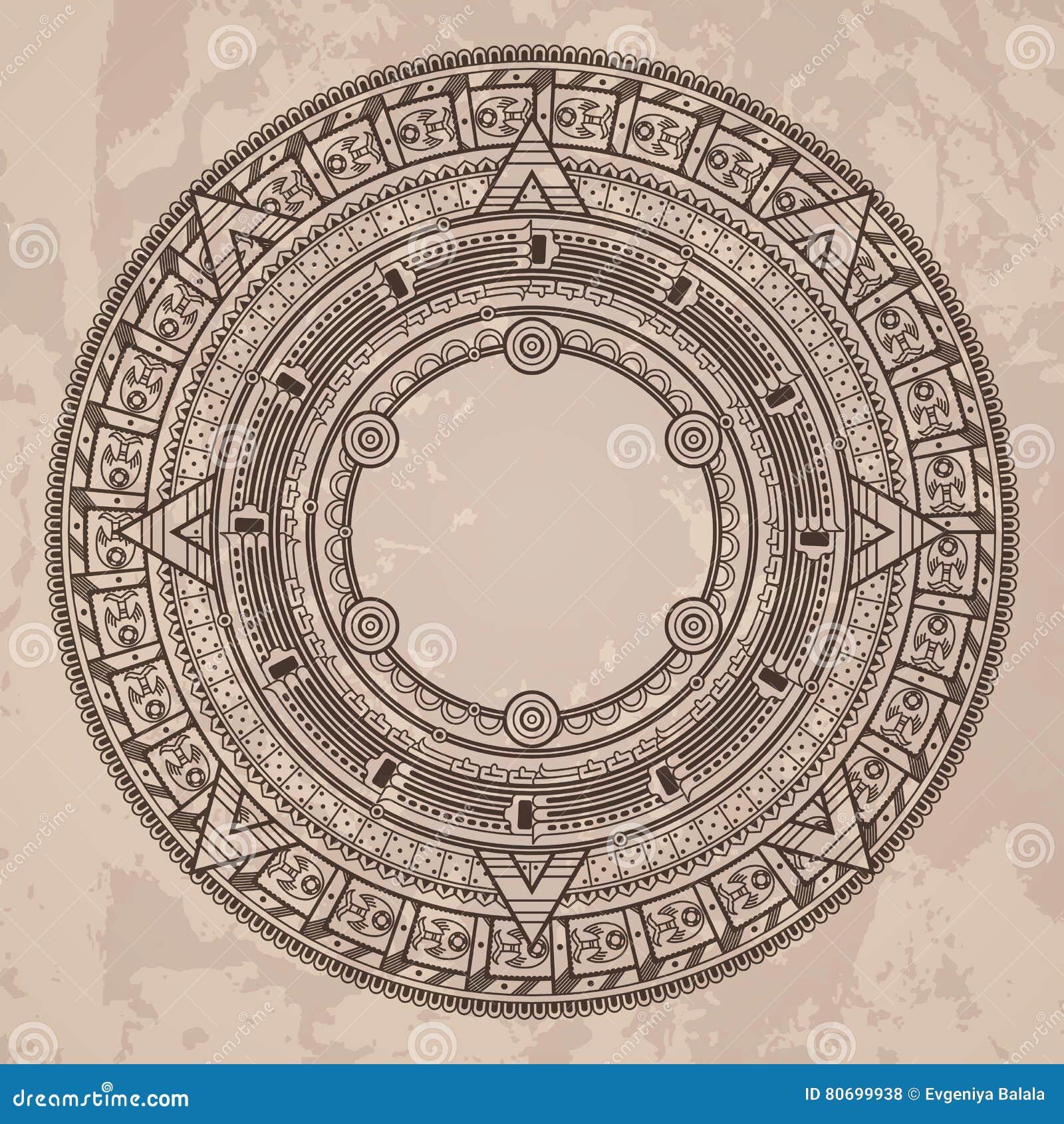 Calendario Azteca Vectores.Vector El Modelo Circular En El Estilo De La Piedra Azteca
