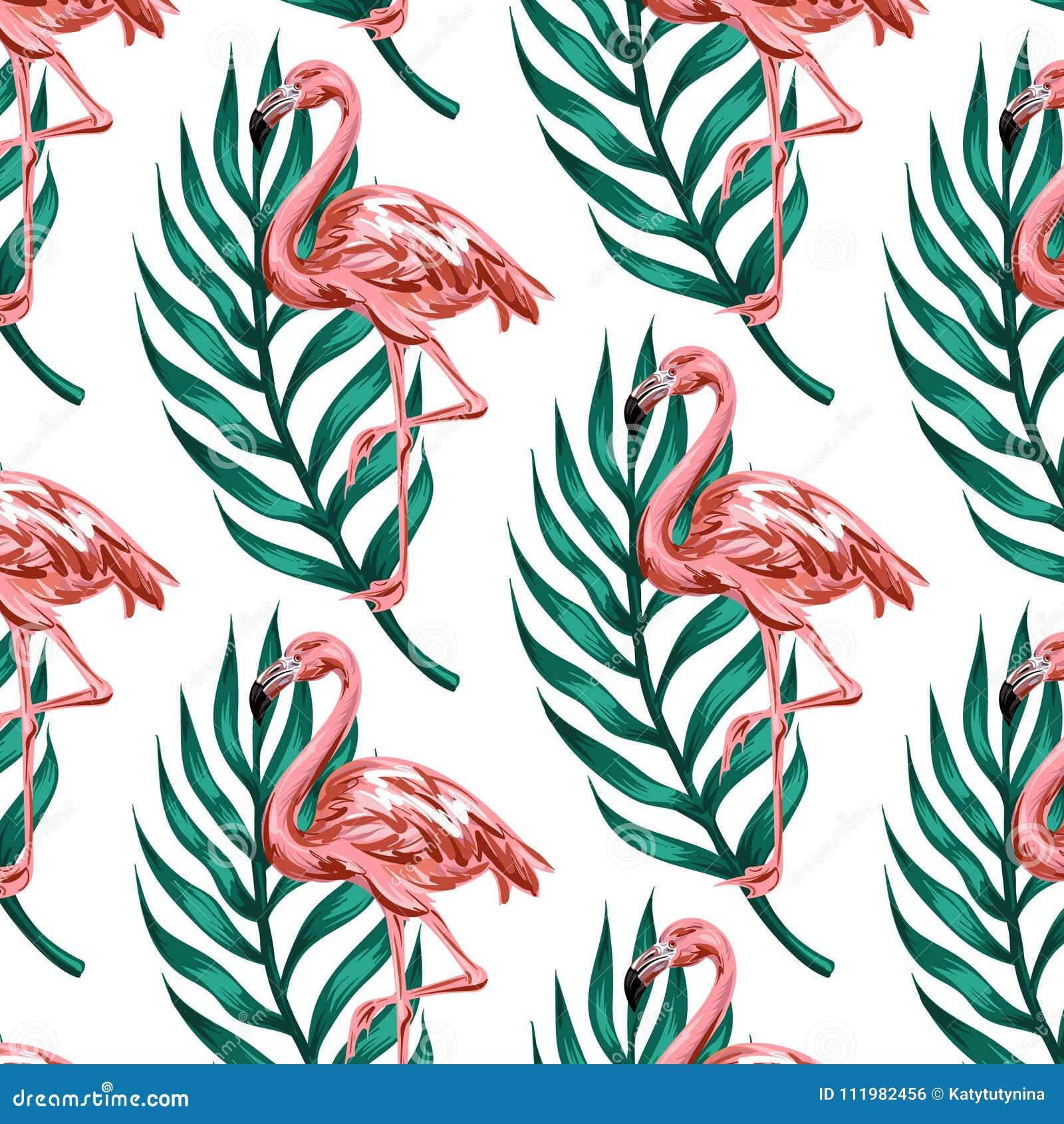 Vector el modelo colorido con el ejemplo dibujado mano del flamenco con las hojas de palma