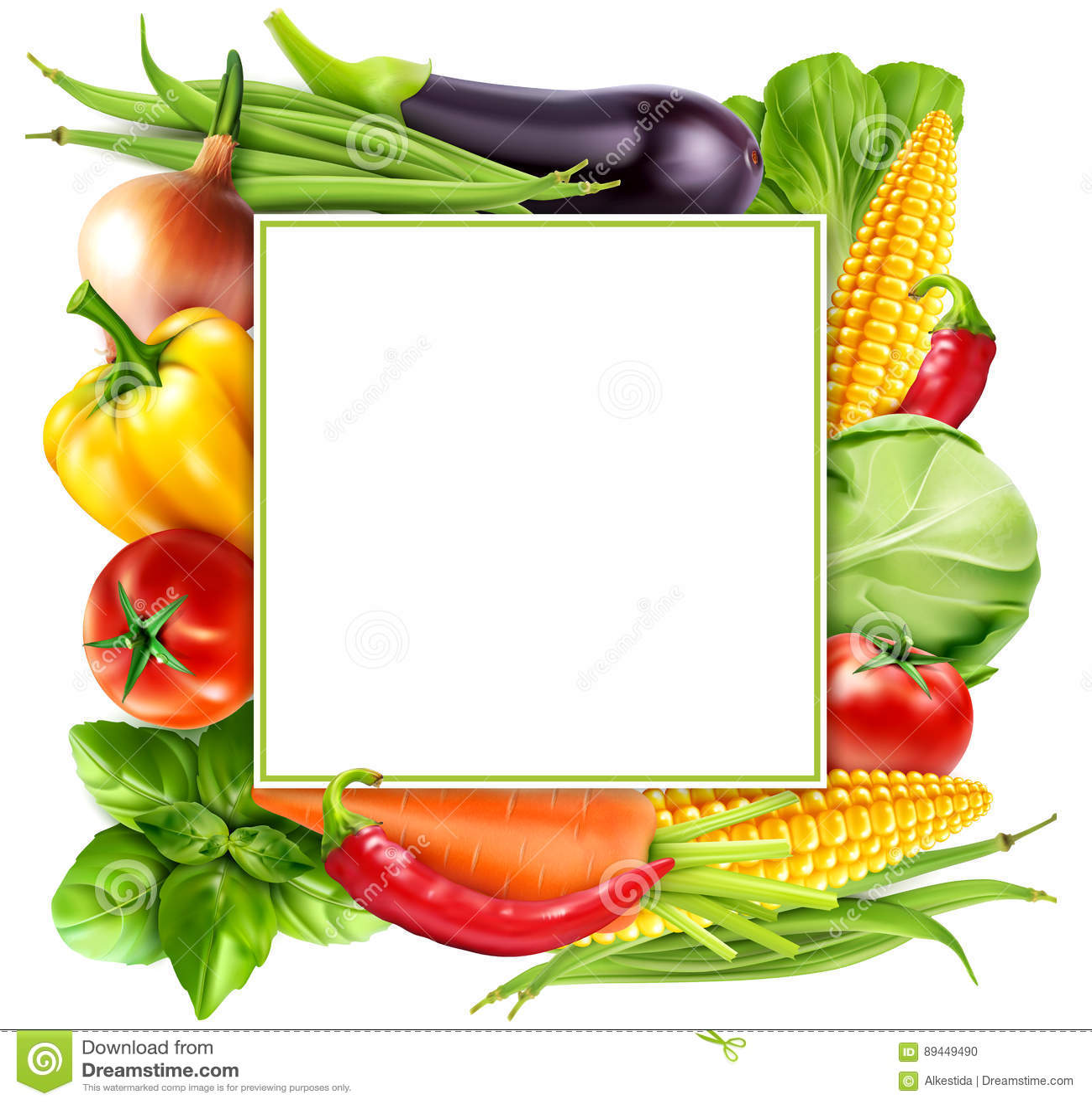 Vector el modelo con las zanahorias de las verduras, col, albahaca del menú, a