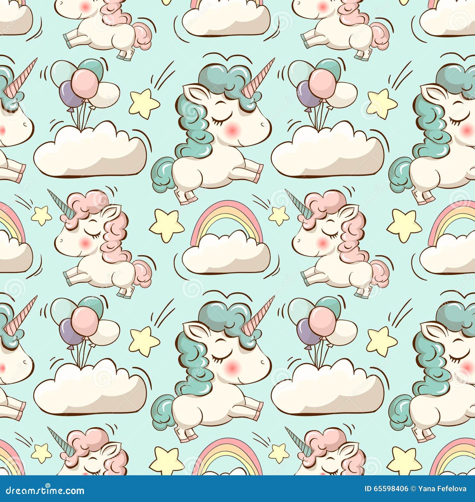 Vector el modelo con unicornio, las nubes y el arco iris
