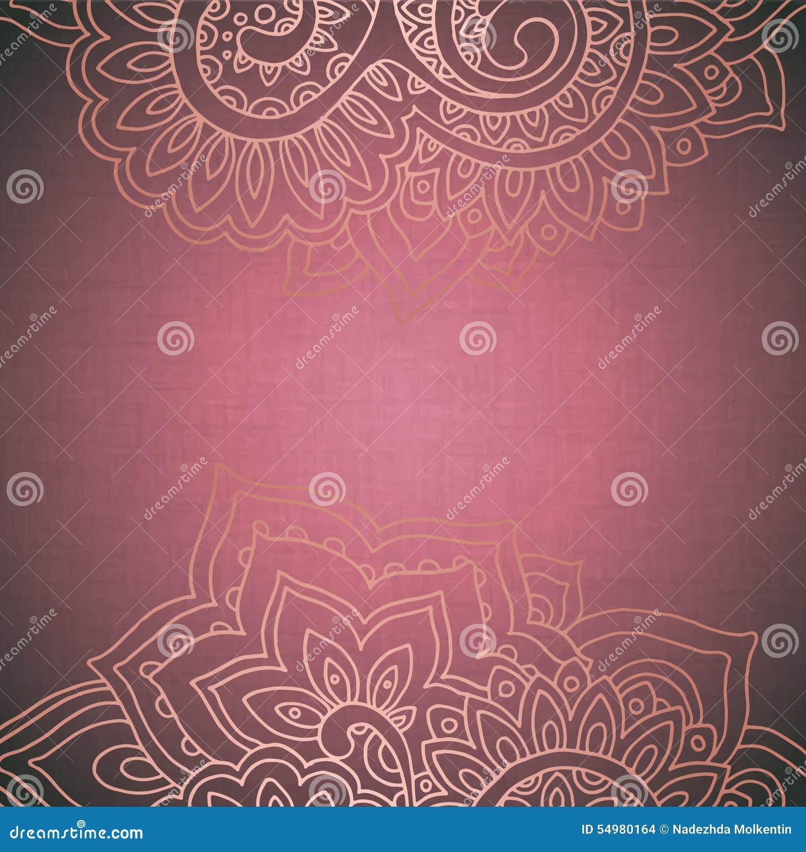 Vector el modelo del marco del ornamento floral indio
