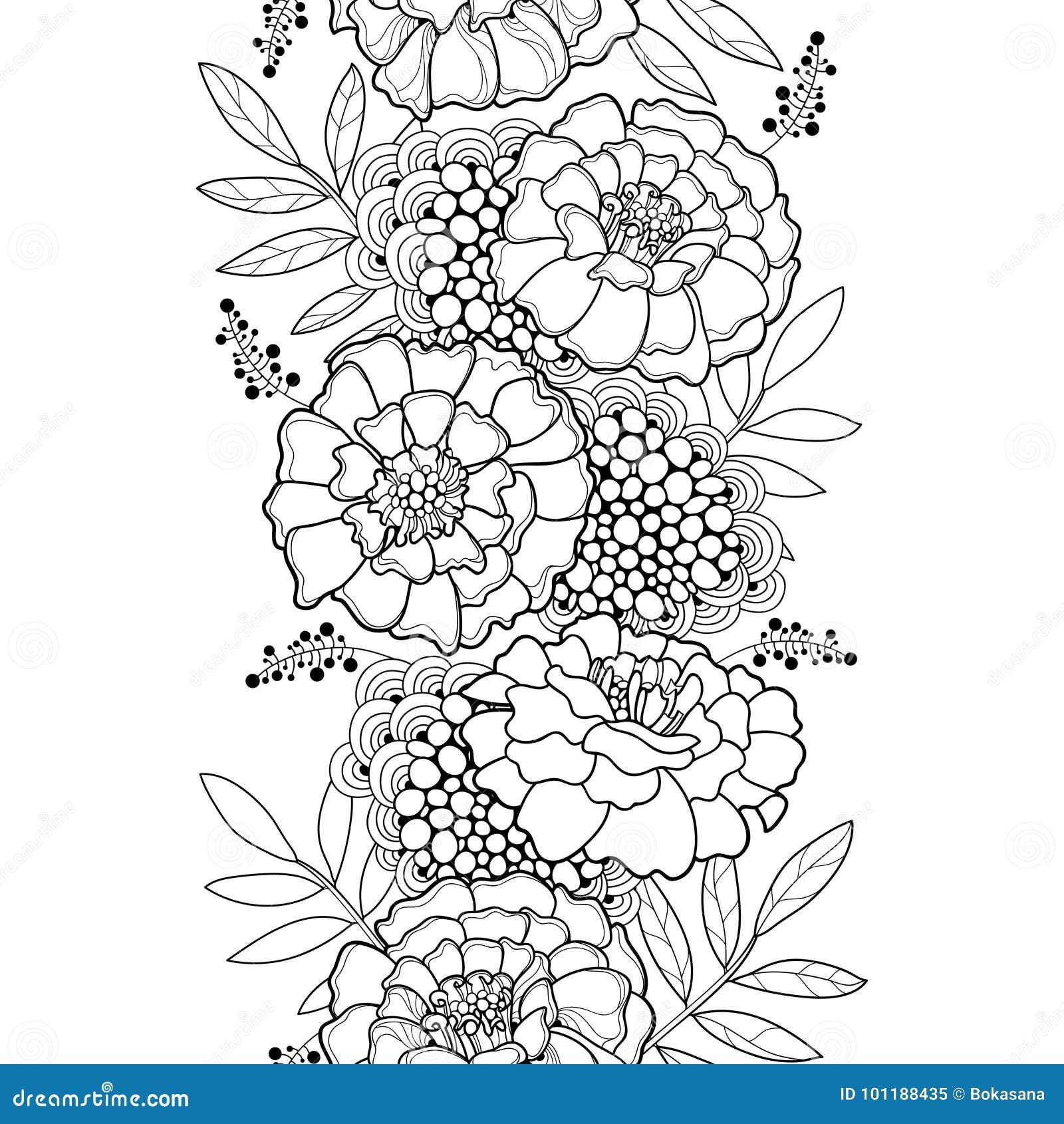 Vector el modelo inconsútil con el esquema Tagetes o la flor de la maravilla