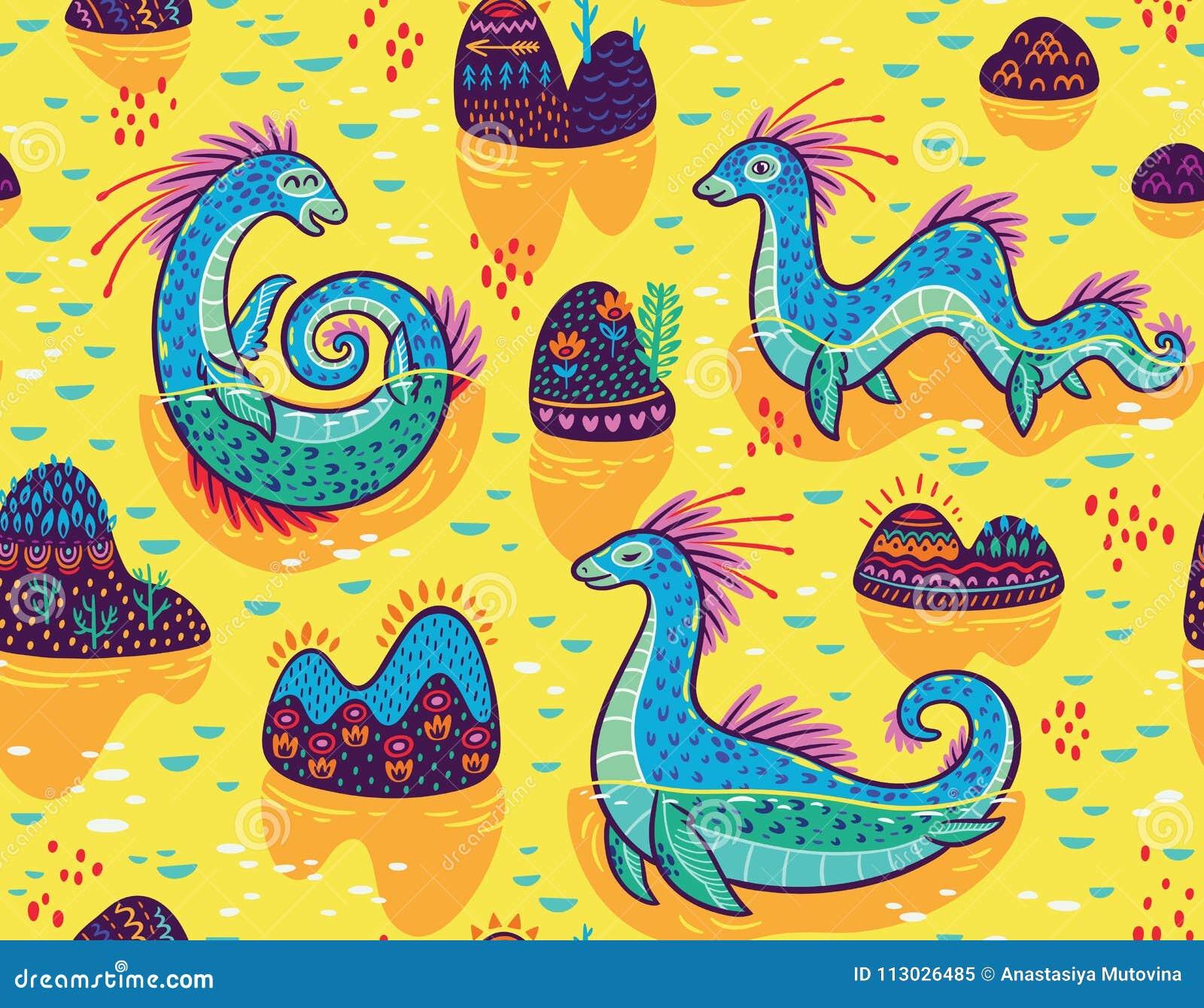 Vector el modelo inconsútil con el lago lindo Ness Monsters y las colinas decorativas en el lago Fondo superficial amarillo de la