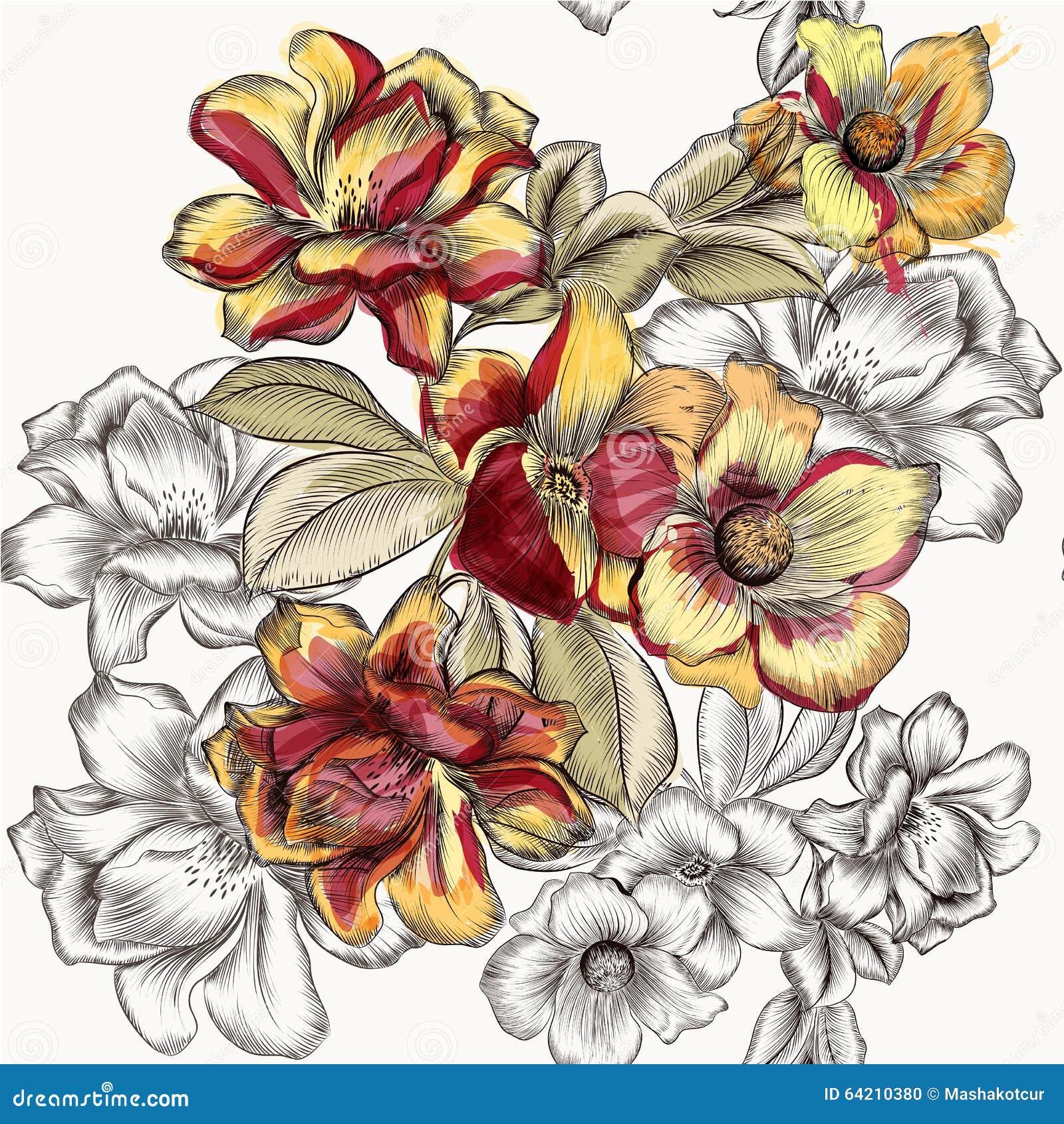 Vector el modelo inconsútil con las flores color de rosa en grabado y waterc