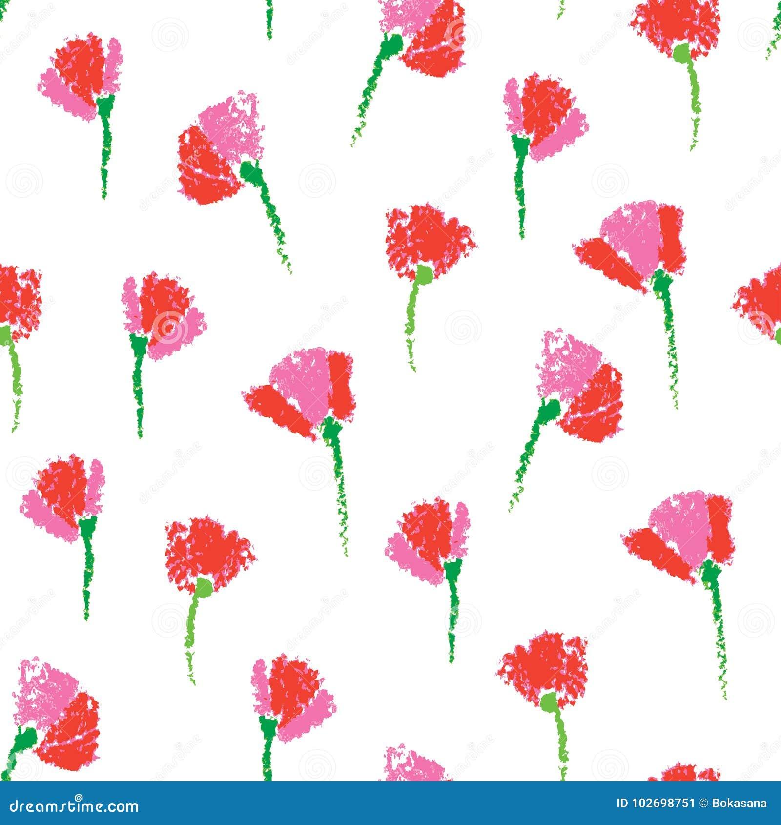 Vector el modelo inconsútil con las flores estilizadas infantiles texturizadas