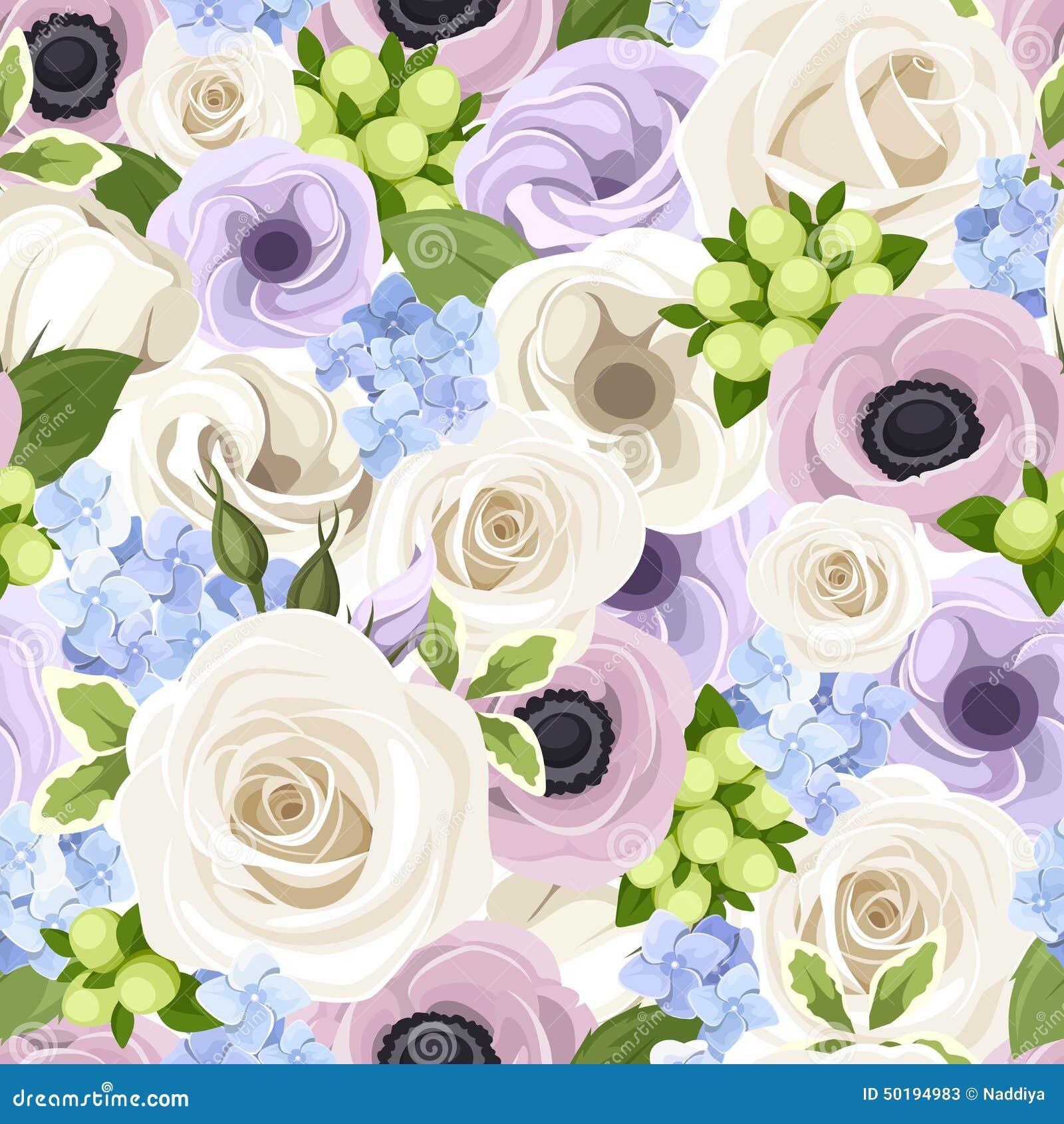 Vector el modelo inconsútil con las rosas blancas, los lisianthuses y las anémonas púrpuras y hortensia azul