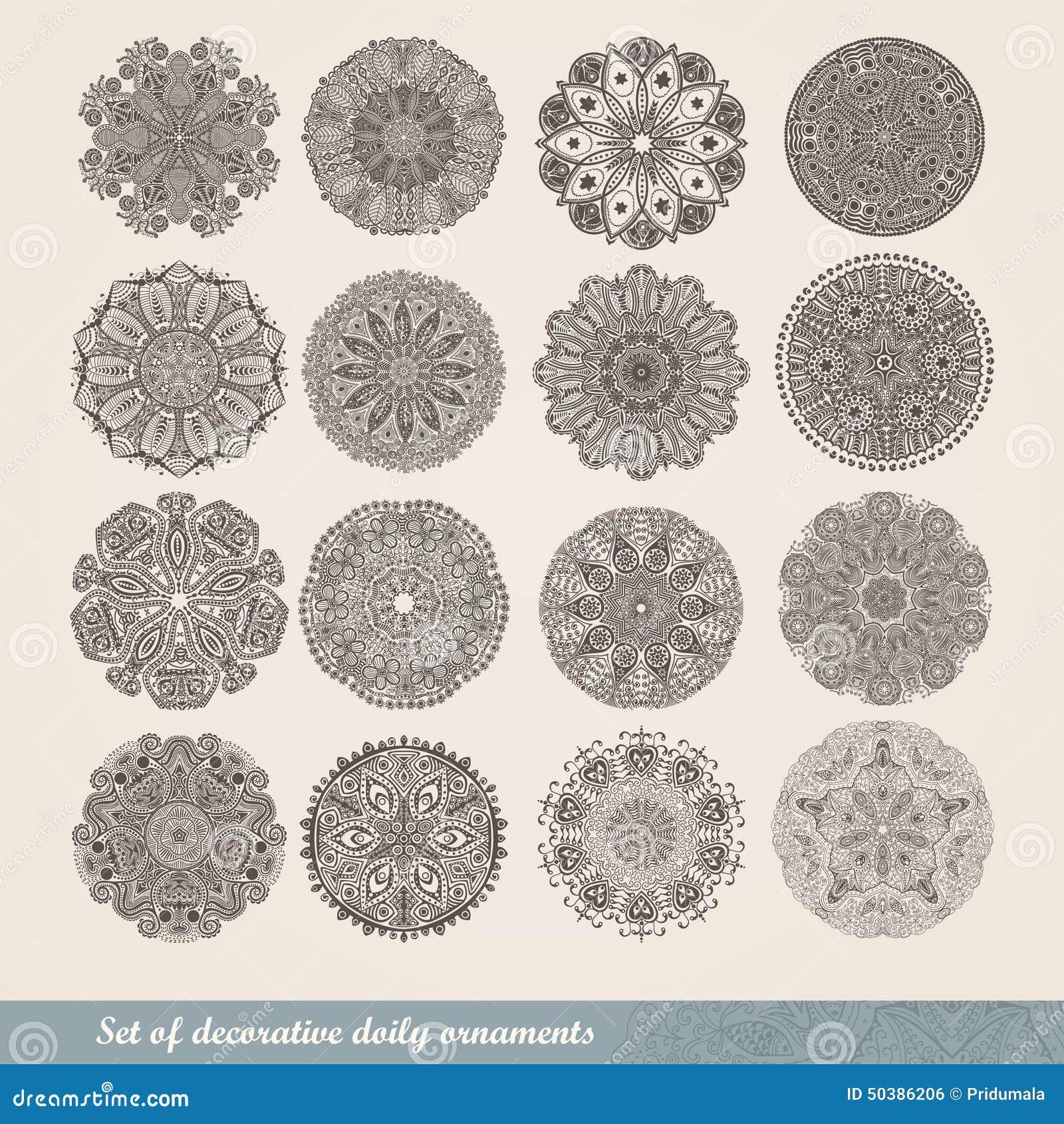 Vector el ornamento indio, estampado de flores caleidoscópico, mandala Sistema de cordón de dieciséis ornamentos modelo redondo o