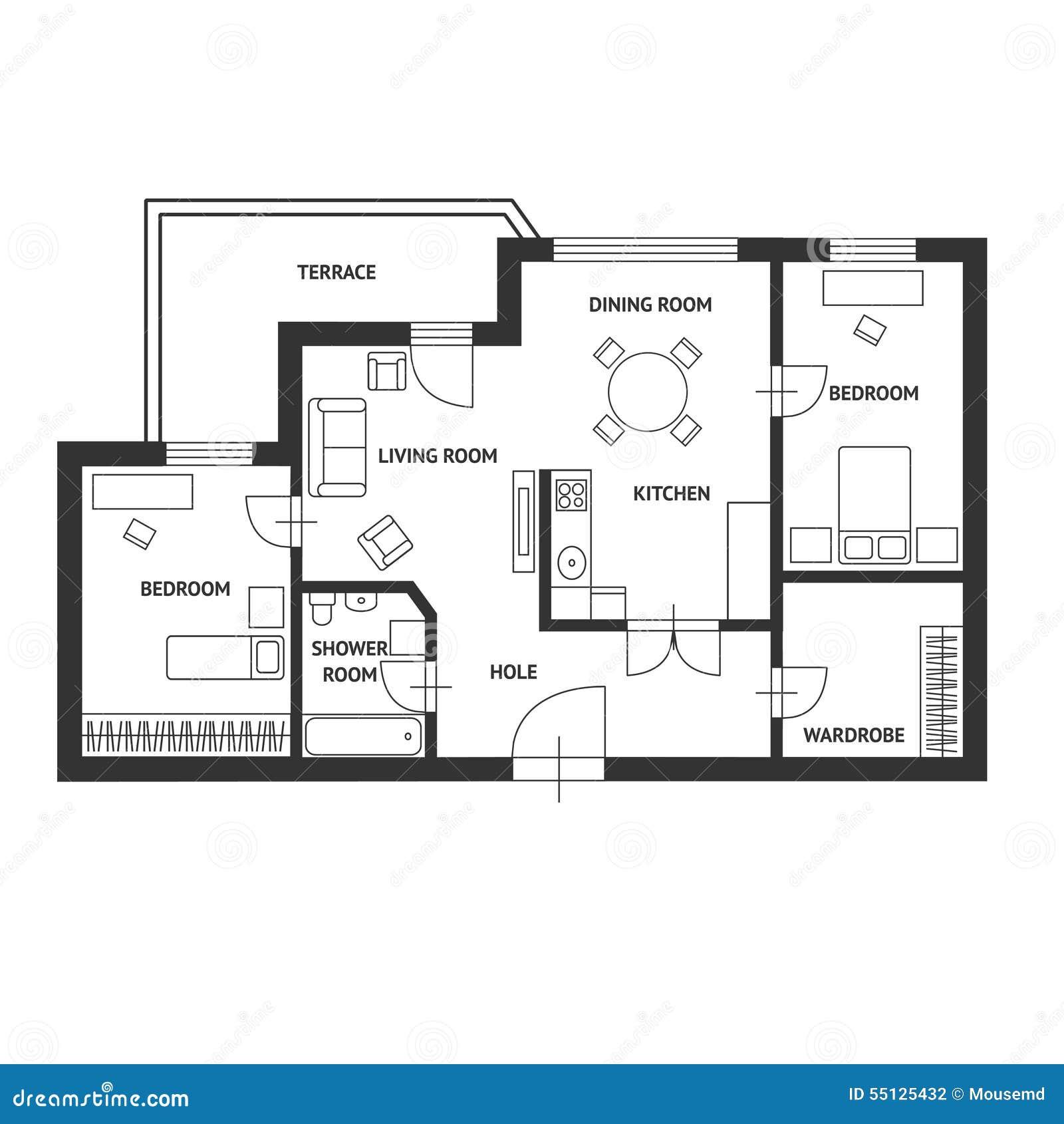 Vector el plan del arquitecto con un dise o plano de los for Planos y diseno de muebles