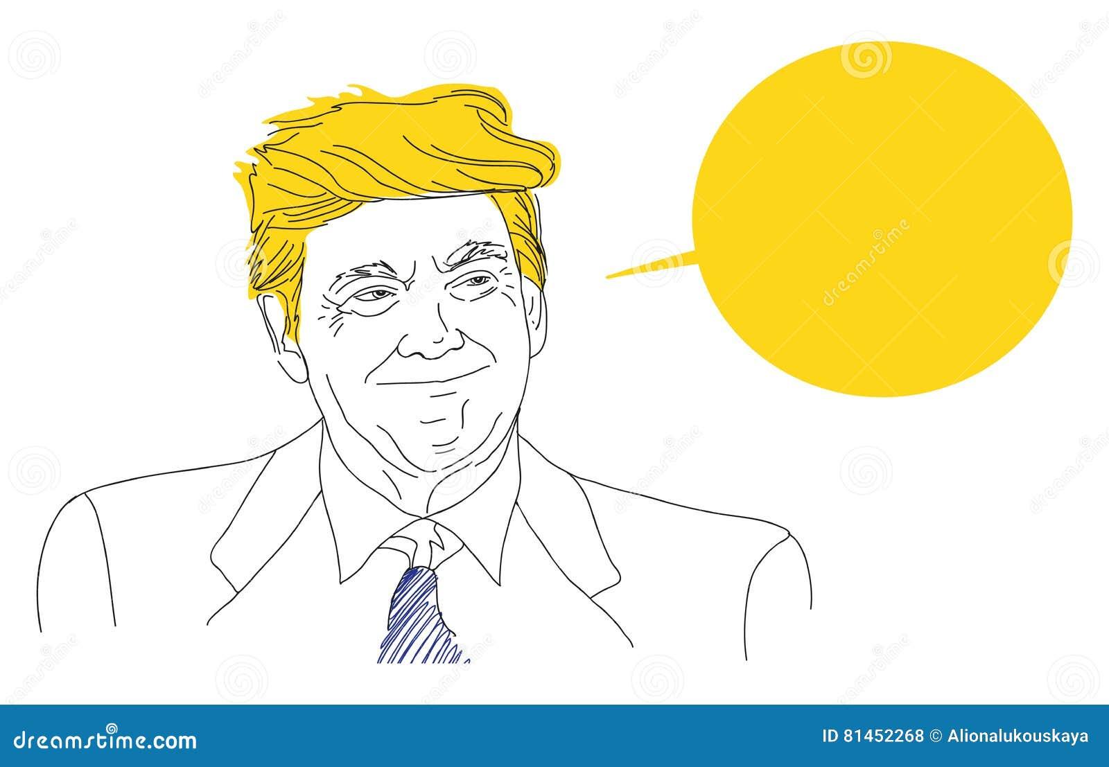 Vector el retrato de Donald Trump sonriente, bosquejo, discurso, burbuja, mano dibujada, línea de la lata, las elecciones preside