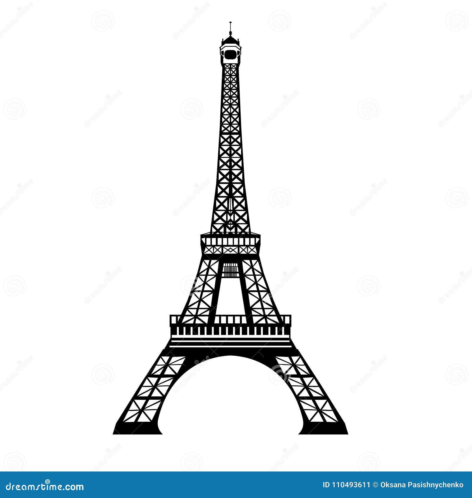Vector el símbolo dibujado mano negra de la señal de la torre de Eifel de la tinta de París, Francia Grande para las invitaciones