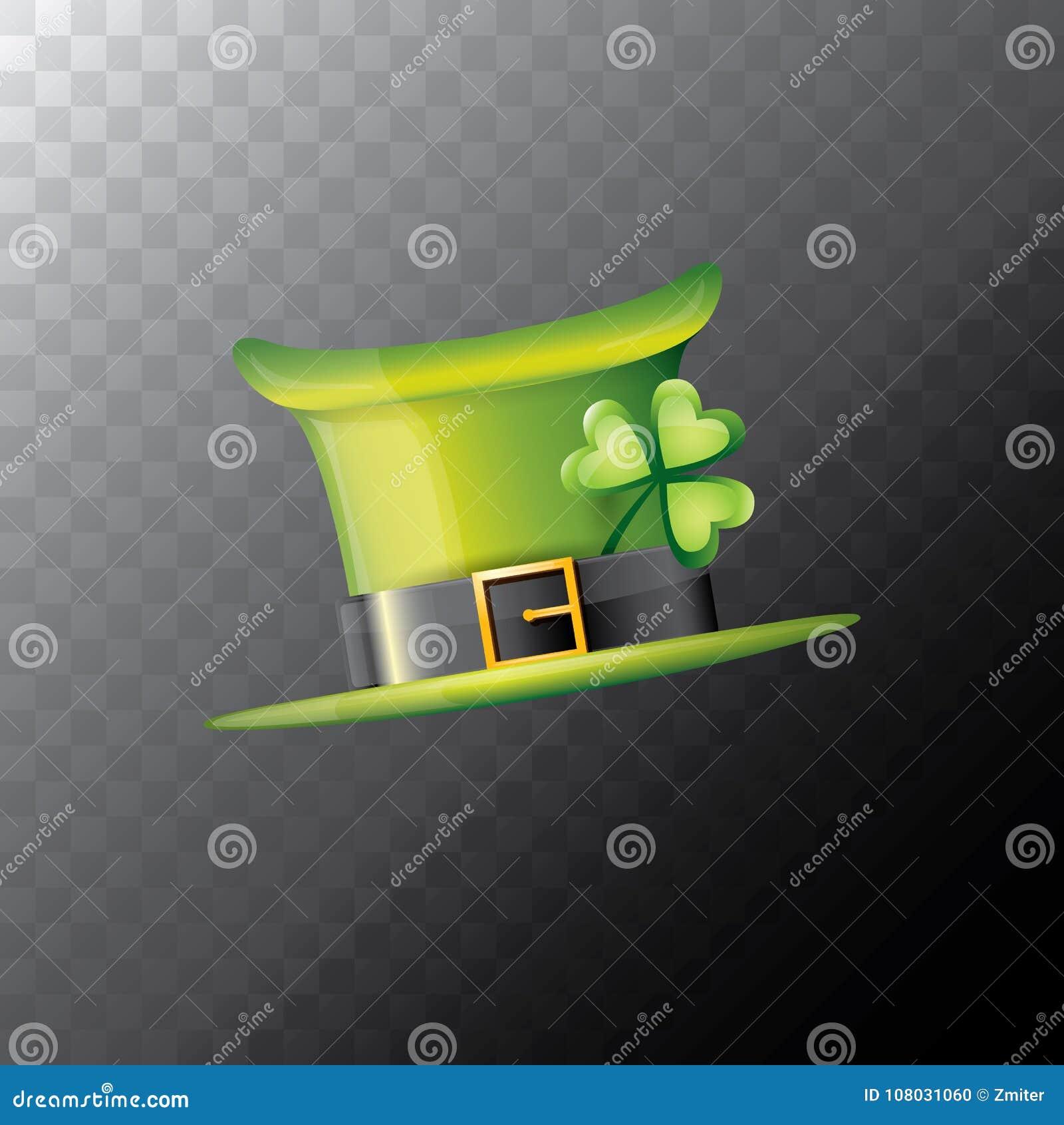 Vector el trébol brillante del sombrero del verde del día de los patricks  del santo aislado en fondo transparente vector el sombrero de la historieta  del ... 771c807c85a