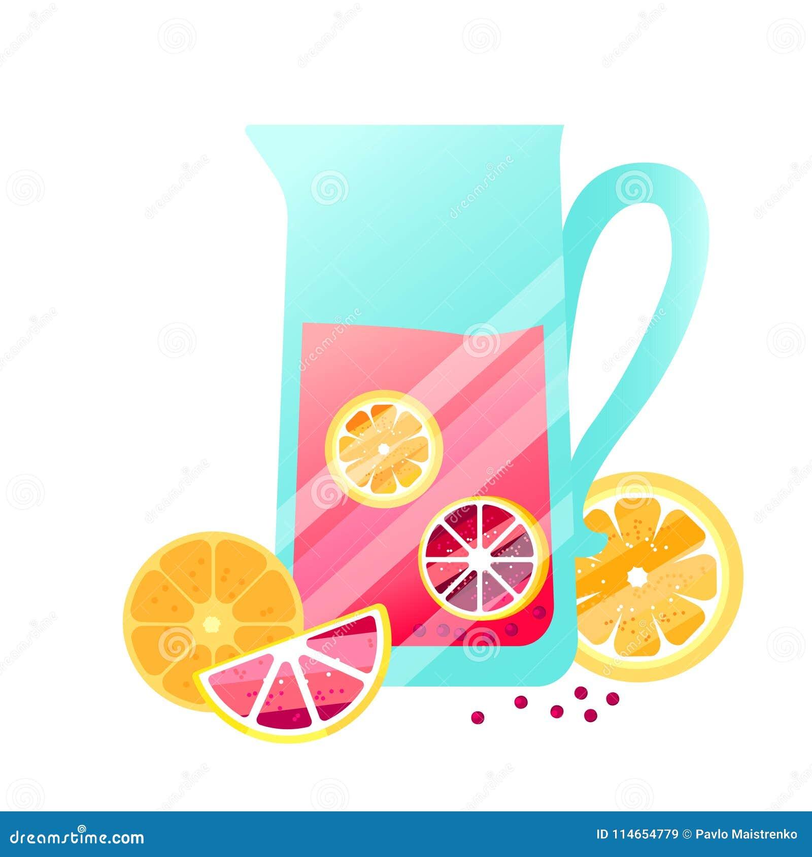 Vector el zumo de fruta con las bayas, las naranjas y los limones