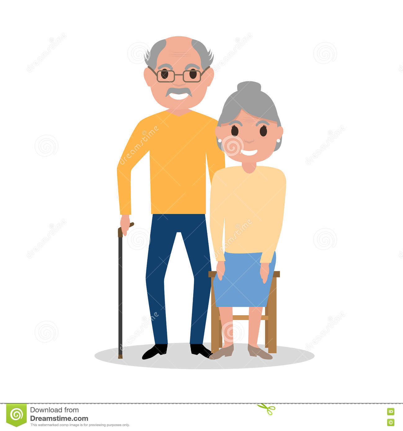 Vector elderly couple grandparents, aged people