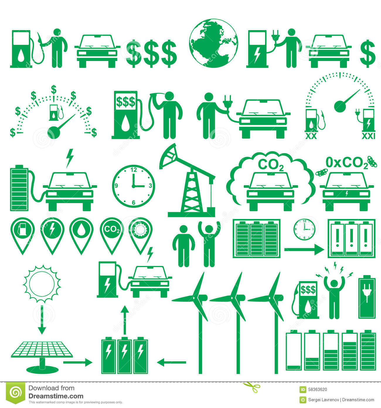 Vector Electric Cars Stick Pictograms Set Ecology And Environment