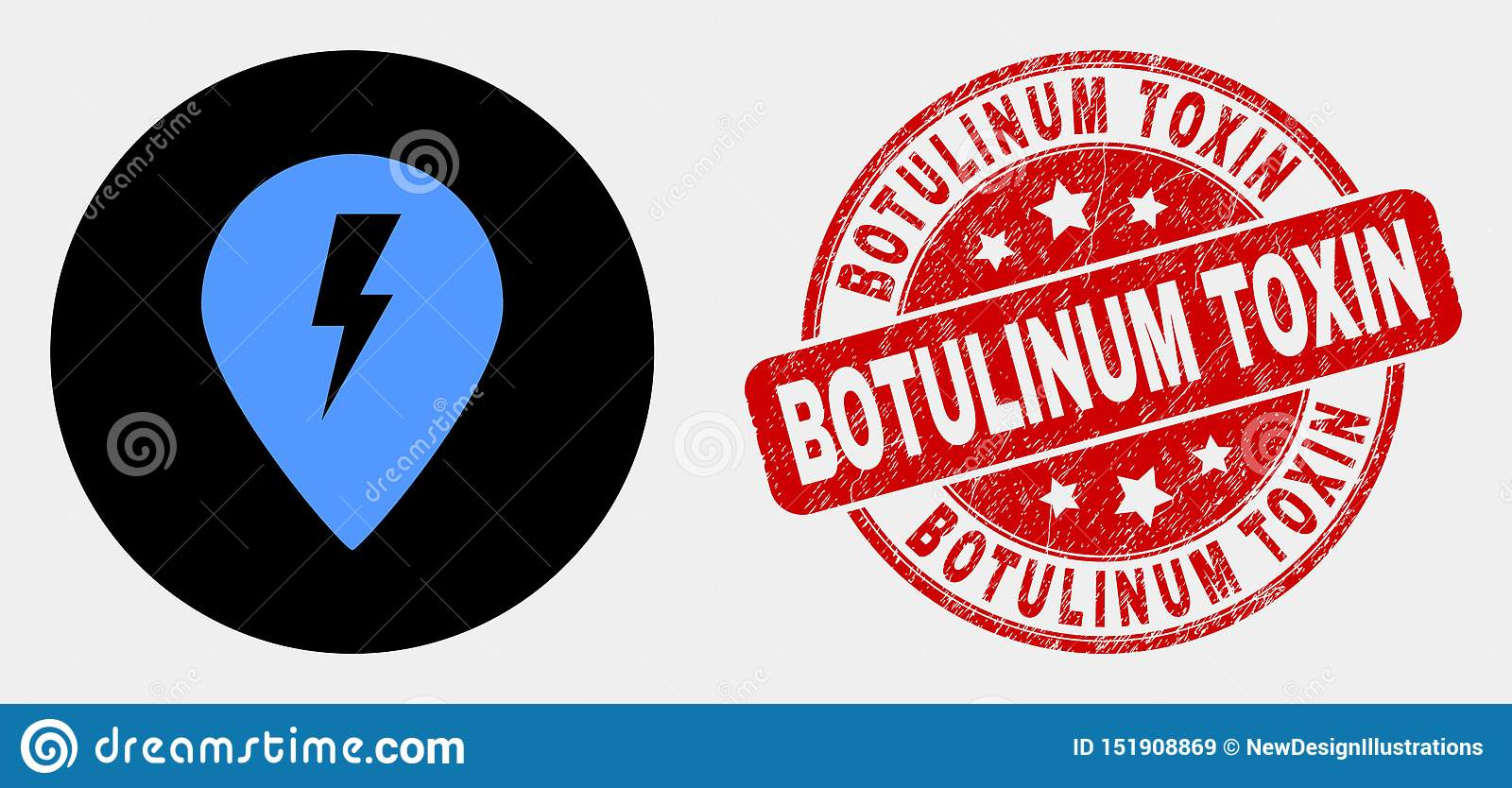 Vector Electric Map Marker Icon and Grunge Botulinum Toxin Stamp