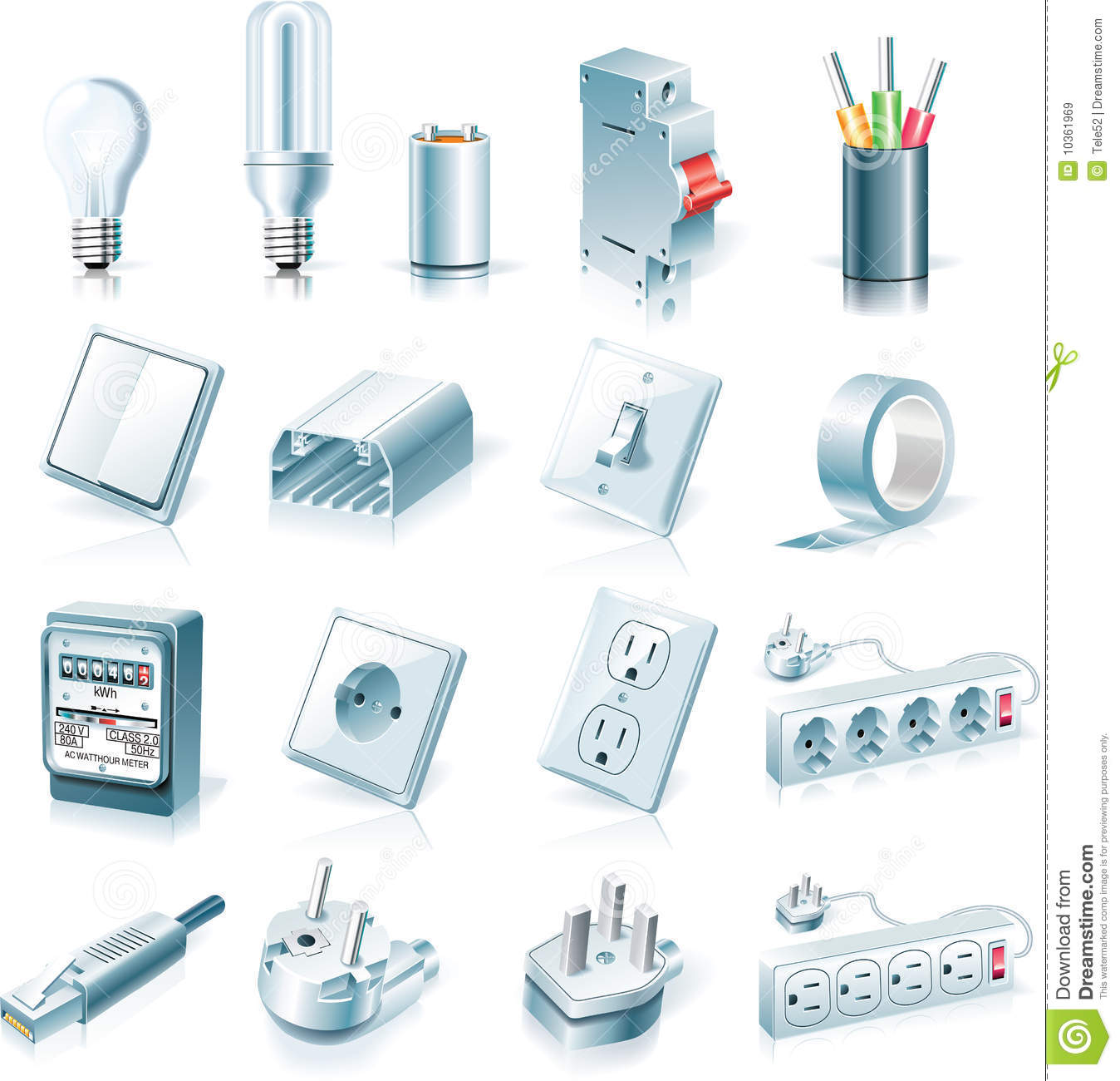 vector electrical supplies icon set stock vector image house wiring plans uk house wiring plan india