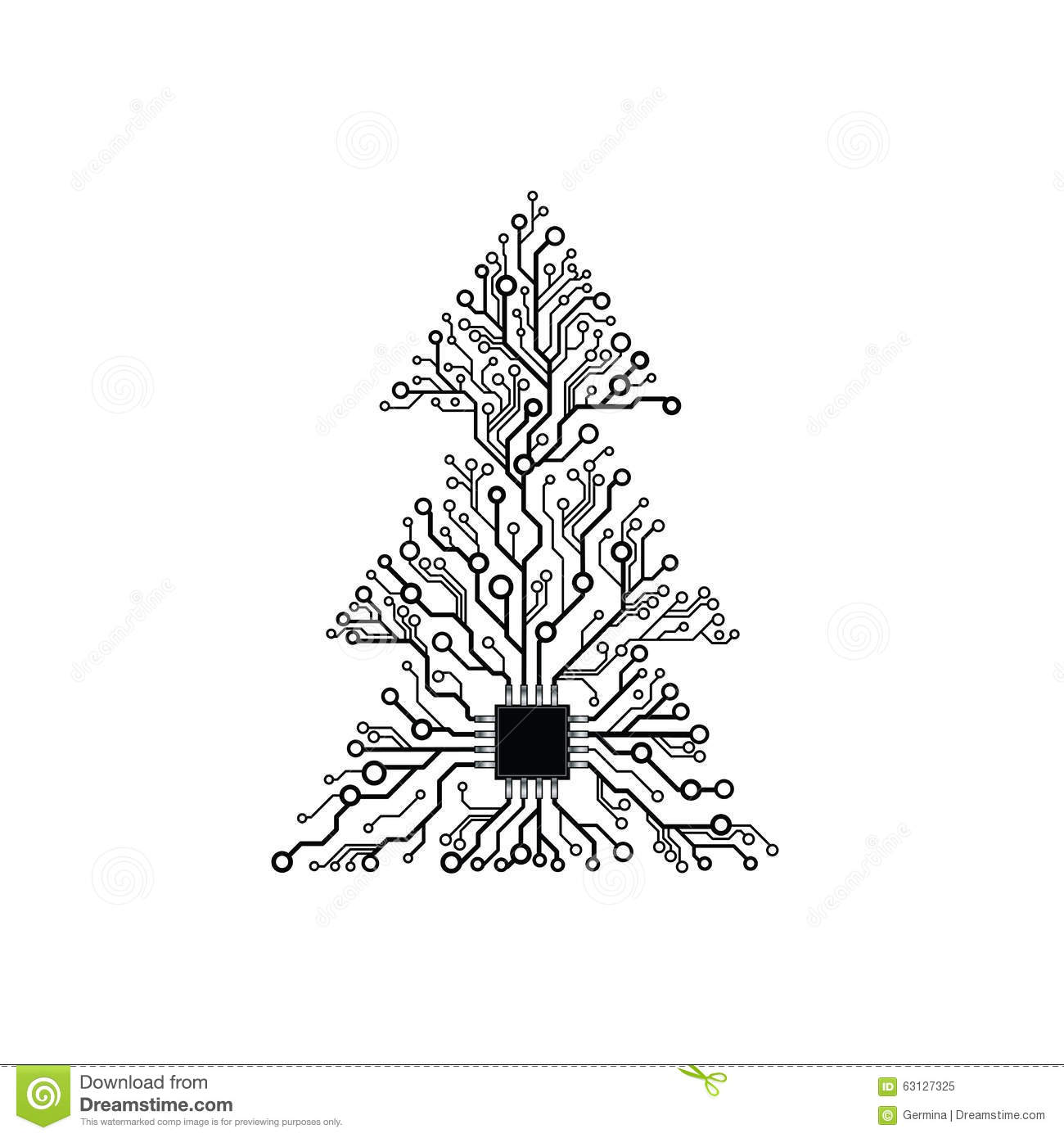 vector electronic christmas tree stock vector