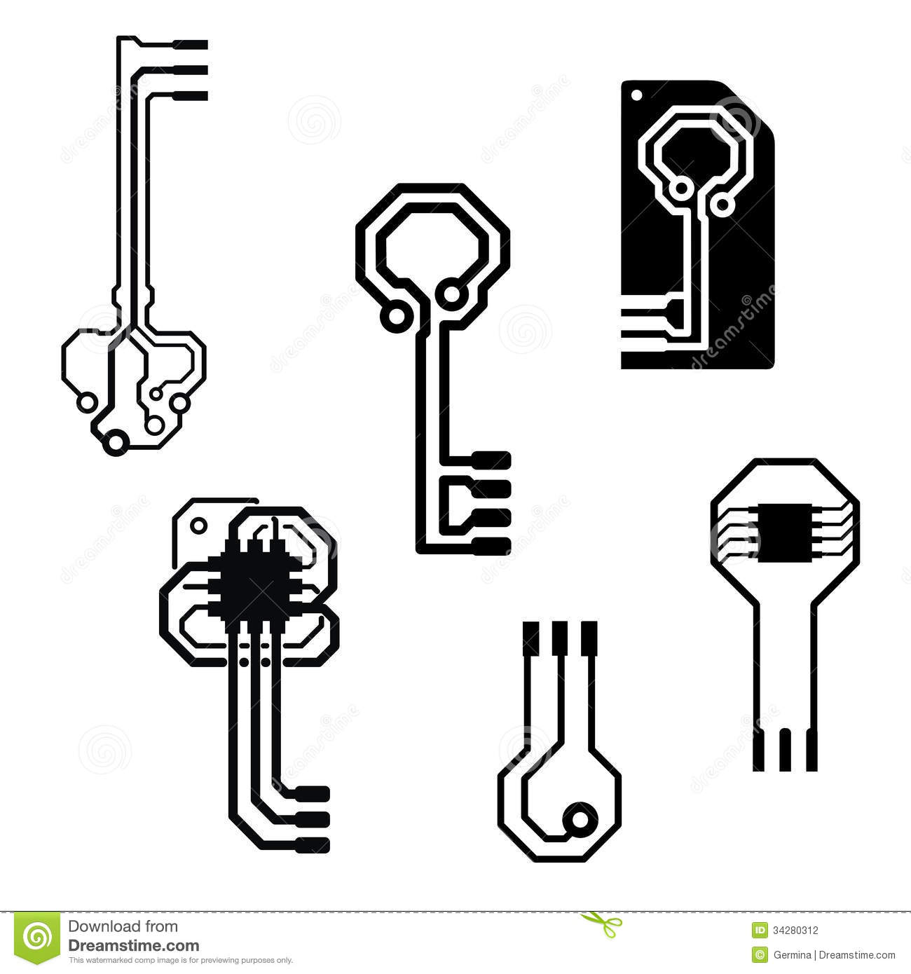 vector electronic circuit keys stock photography