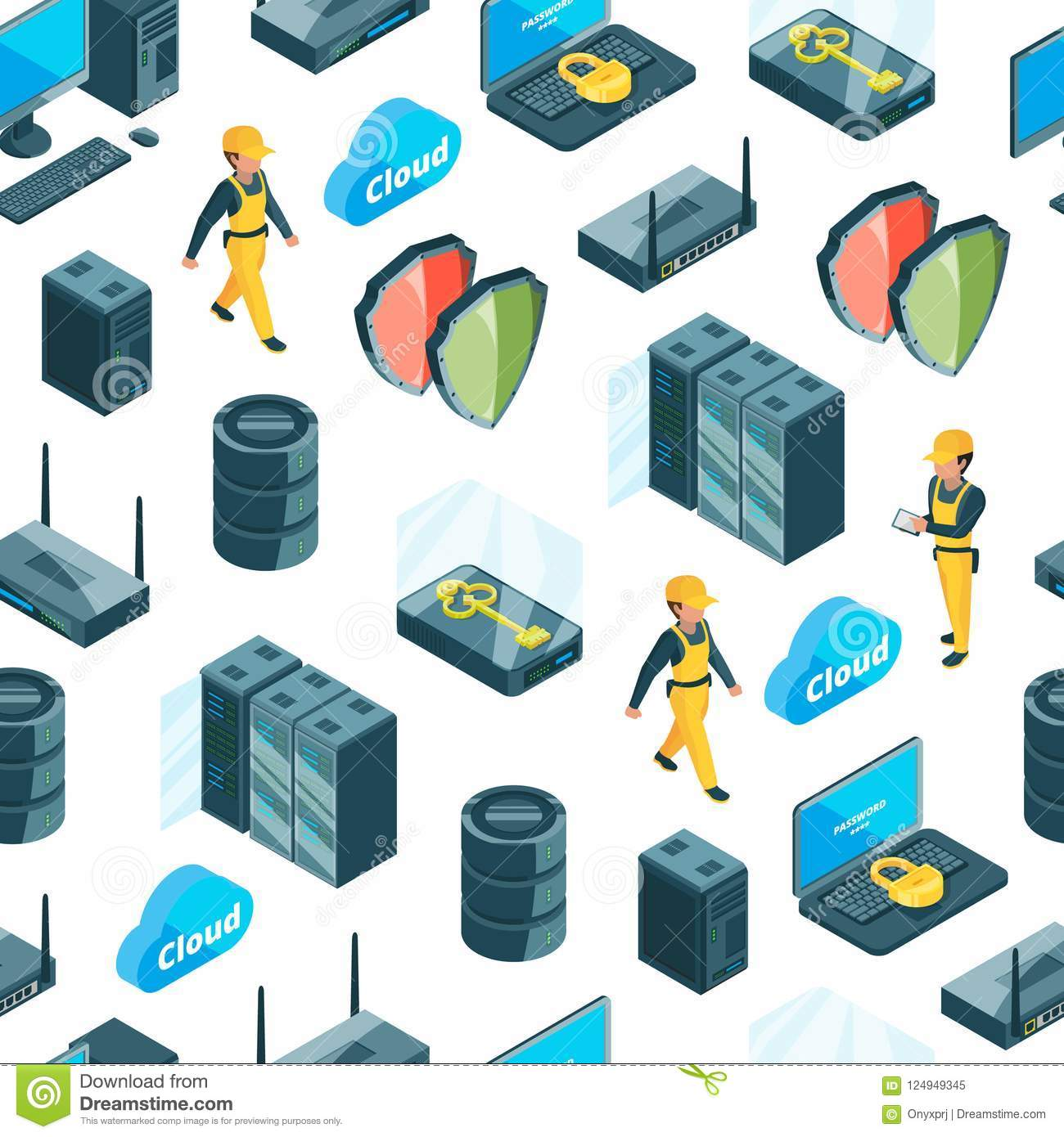 Vector electronic system of data center icons pattern or background illustration
