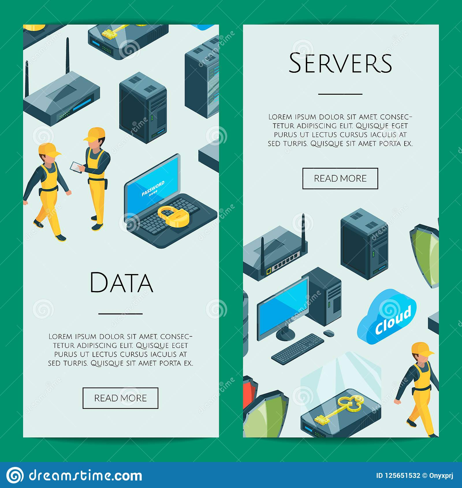 vector electronic system of data center icons web banner templates
