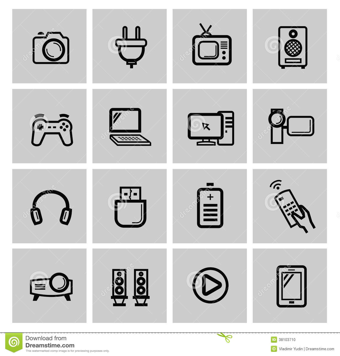 Vector Electronics Icon Set Stock Vector - Illustration of mouse, headphones: 38103710