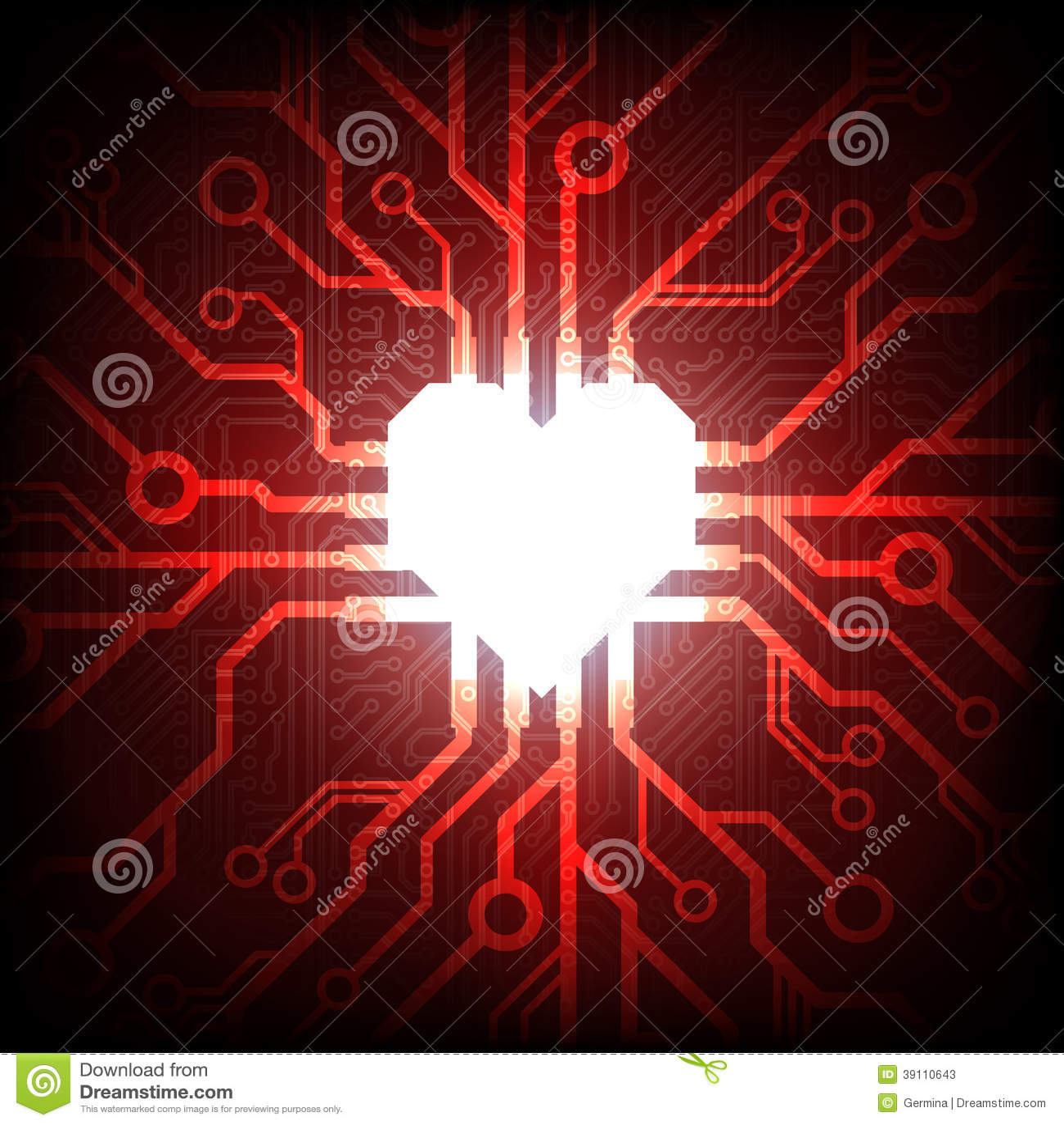 Vector elektronisch verbonden hart