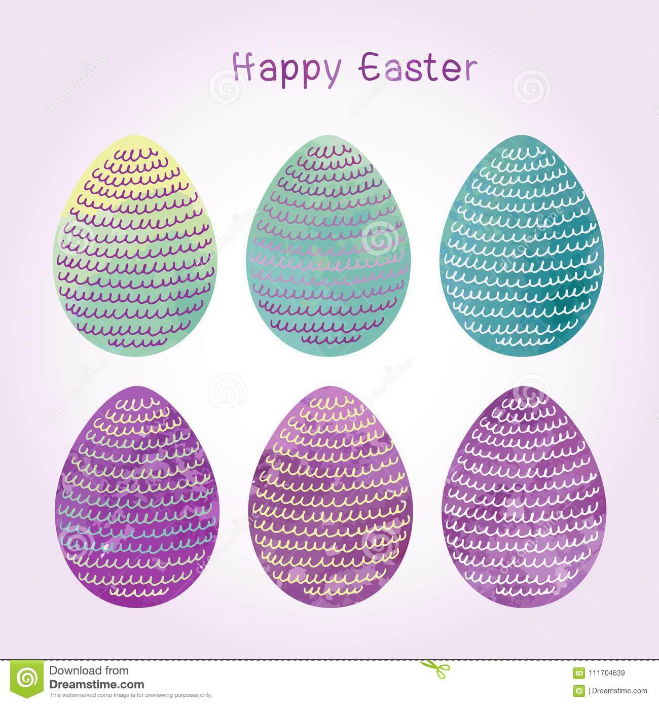Watercolor Style Easter Eggs Iwith Waves Inside N Purple Yellow