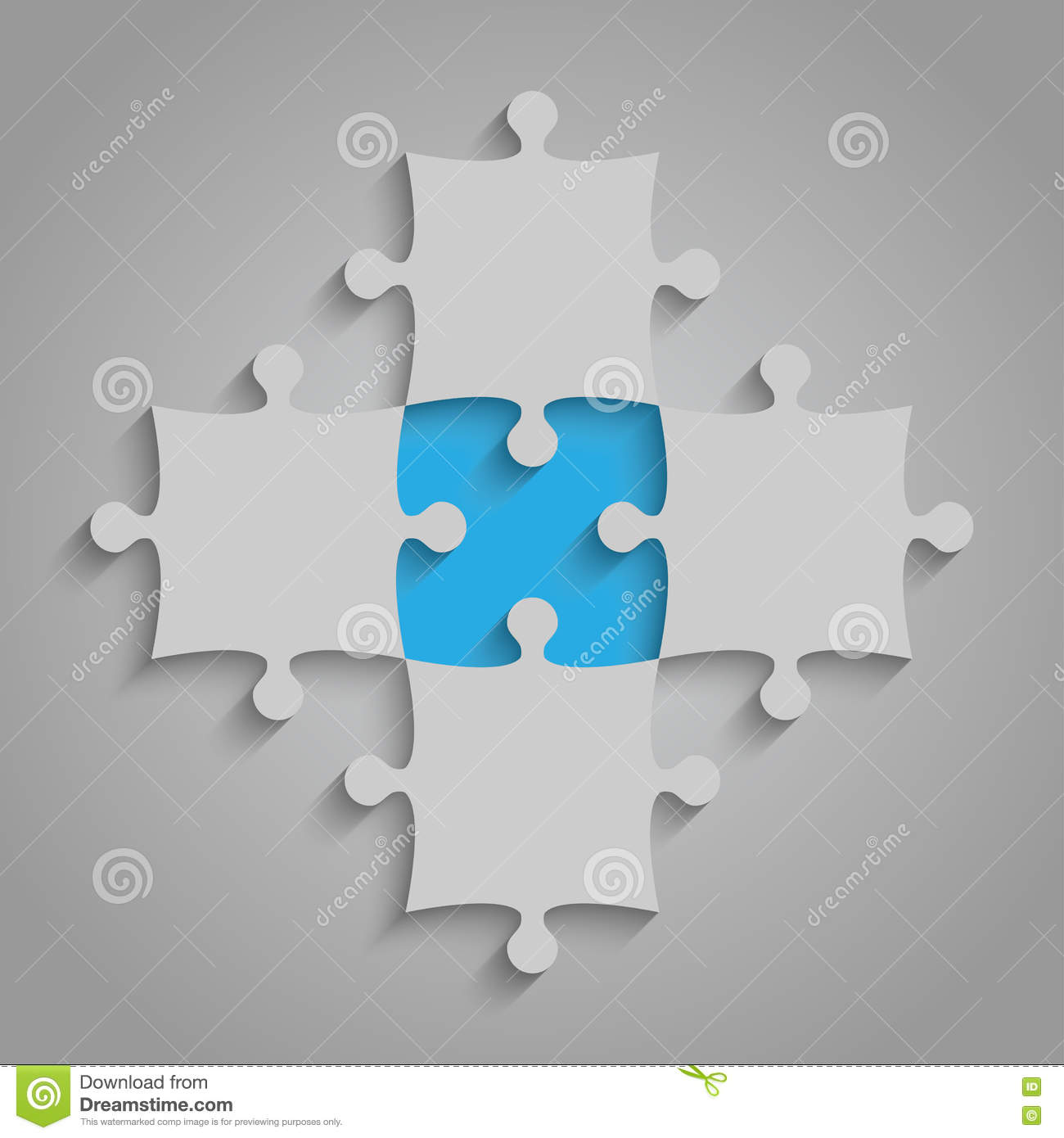 Vector Element Puzzles JigSaw - 5 Pieces  Blue  Stock Vector