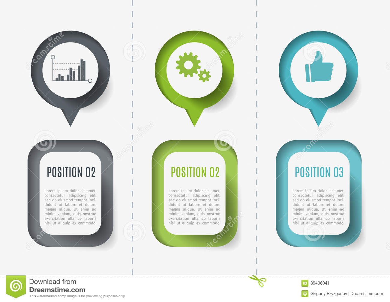Vector elements for infographic. Template for diagram, graph, presentation and chart. Business concept with 3 options