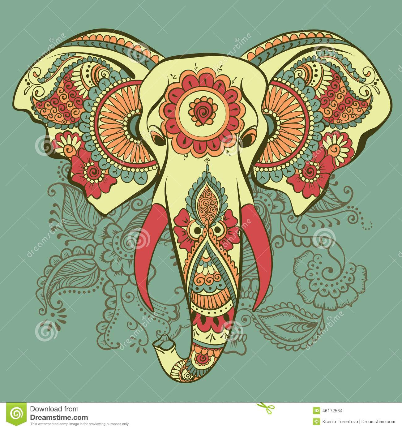 Free ornamental mandala vector download free vector art stock - Vector Elephant On The Henna Indian Ornament Stock Vector